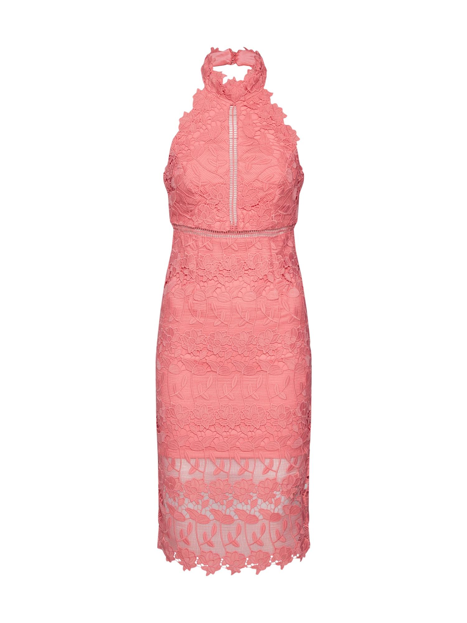 Koktejlové šaty NONI HALTER DRESS pink Bardot