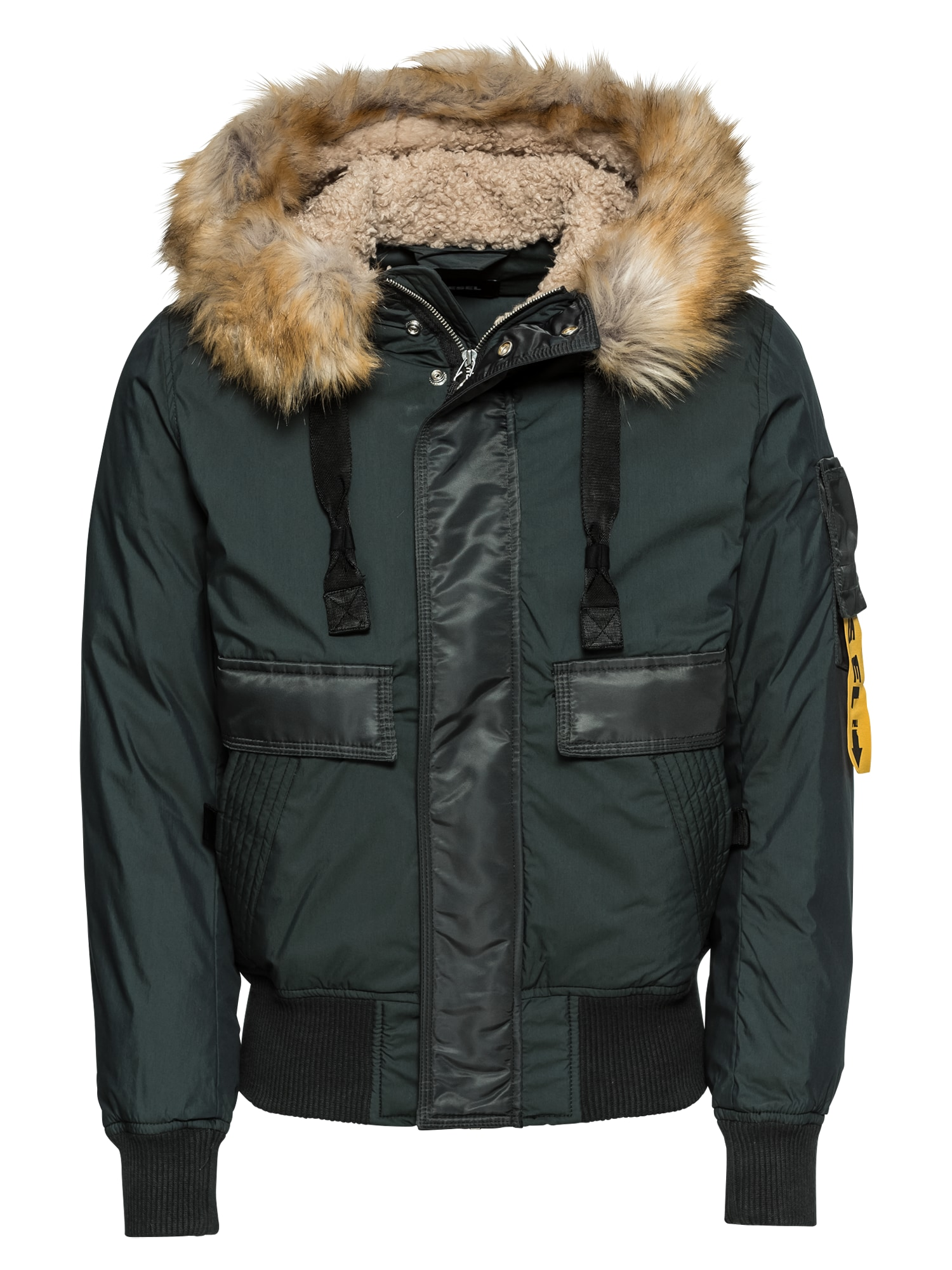 DIESEL Zimní bunda 'W-BURKE JACKE'  tmavě zelená / černá