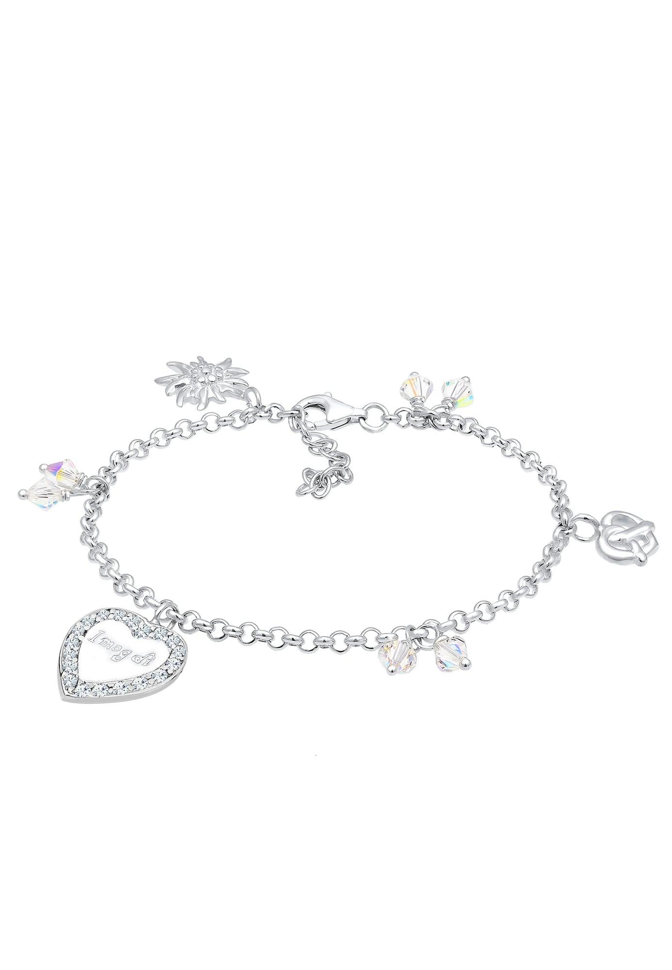 Armband Bettelarmband, Brezel, Edelweiss, Herz, Wiesn   Schmuck > Armbänder > Bettelarmbänder   Silber   ELLI