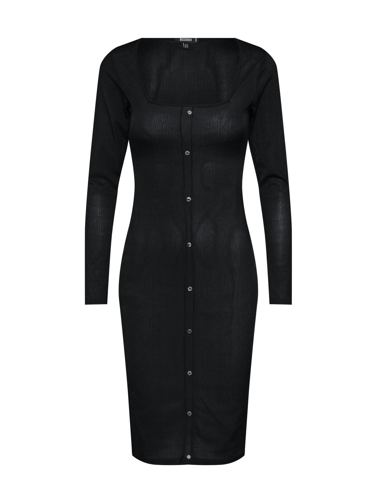 Šaty Slinky Ribbed Long Sleeved Button Front Midi Dress černá Missguided