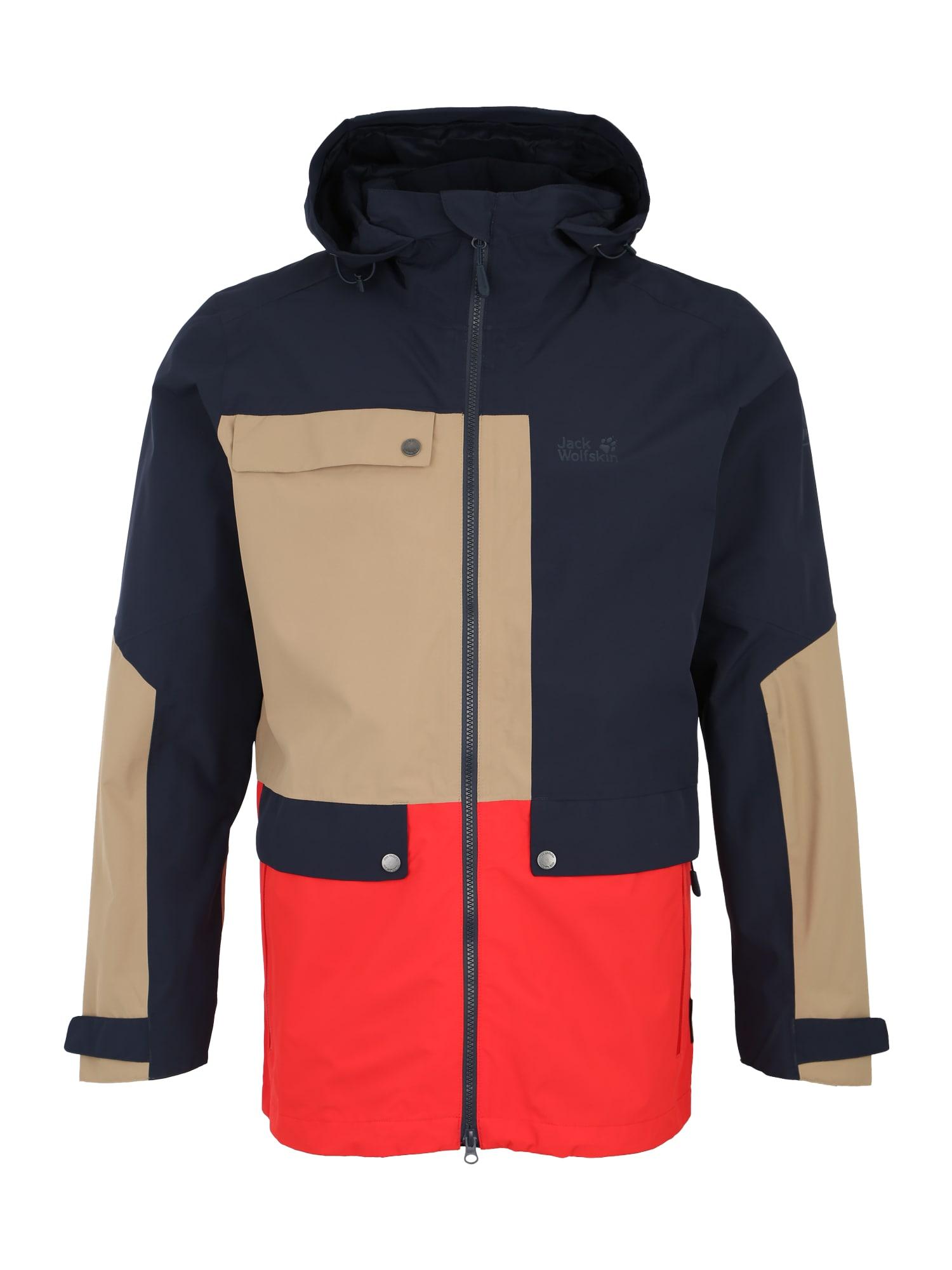 Sportovní bunda 365 Influencer tmavě modrá světle hnědá červená JACK WOLFSKIN