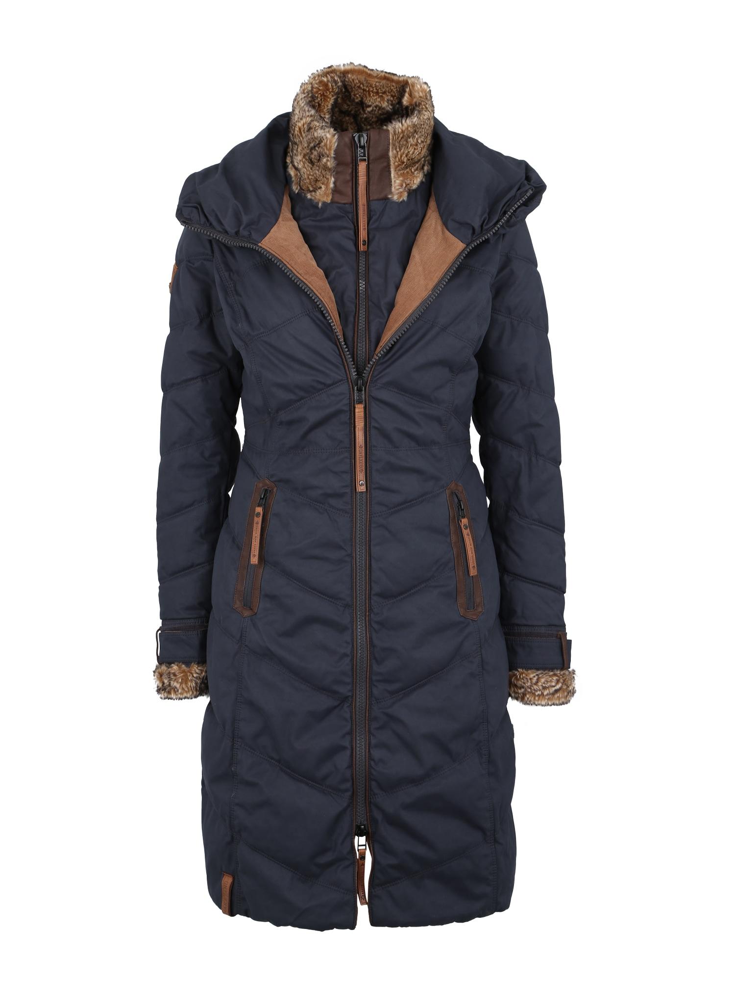 Zimní kabát tmavě modrá světle hnědá Naketano