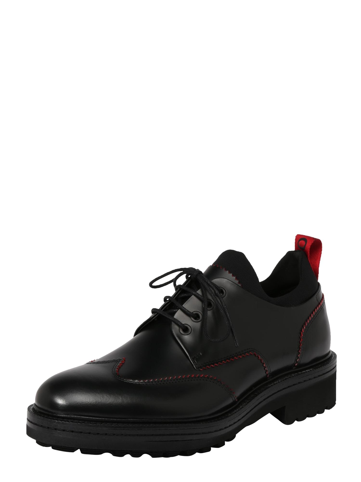 Šněrovací boty Impact Derb červená černá HUGO