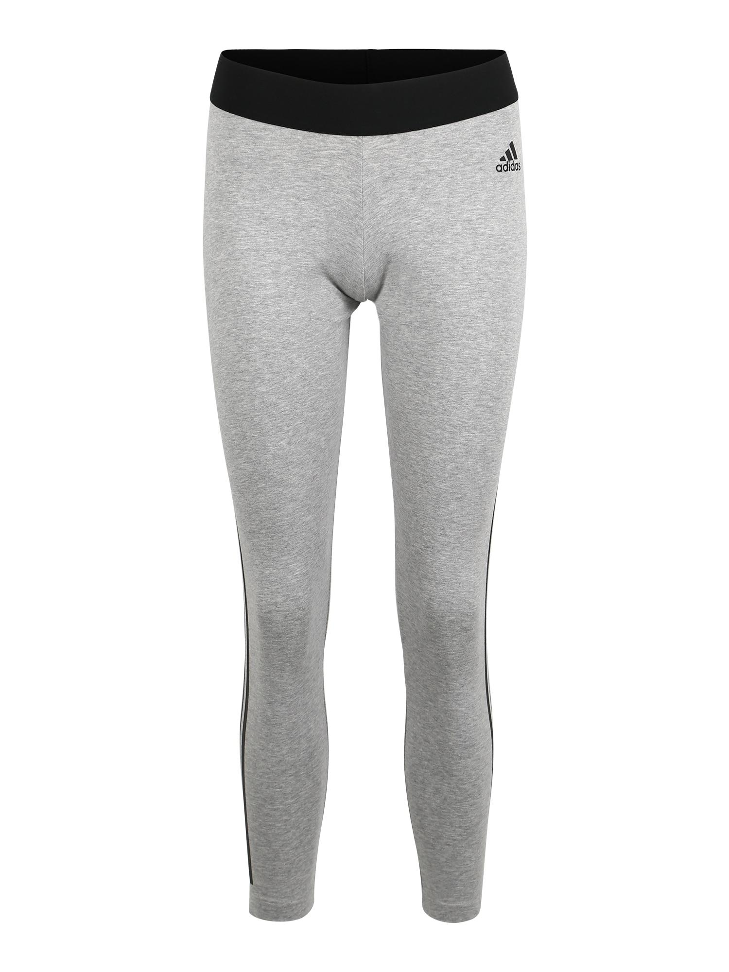 Sportovní kalhoty W MH 3S TIGHT světle šedá černá ADIDAS PERFORMANCE