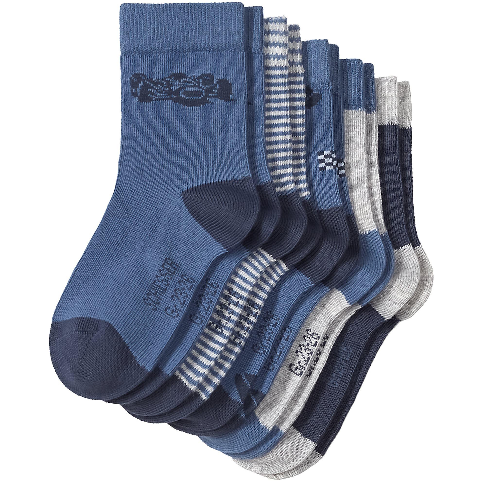 Ponožky chladná modrá světle šedá bílá SCHIESSER
