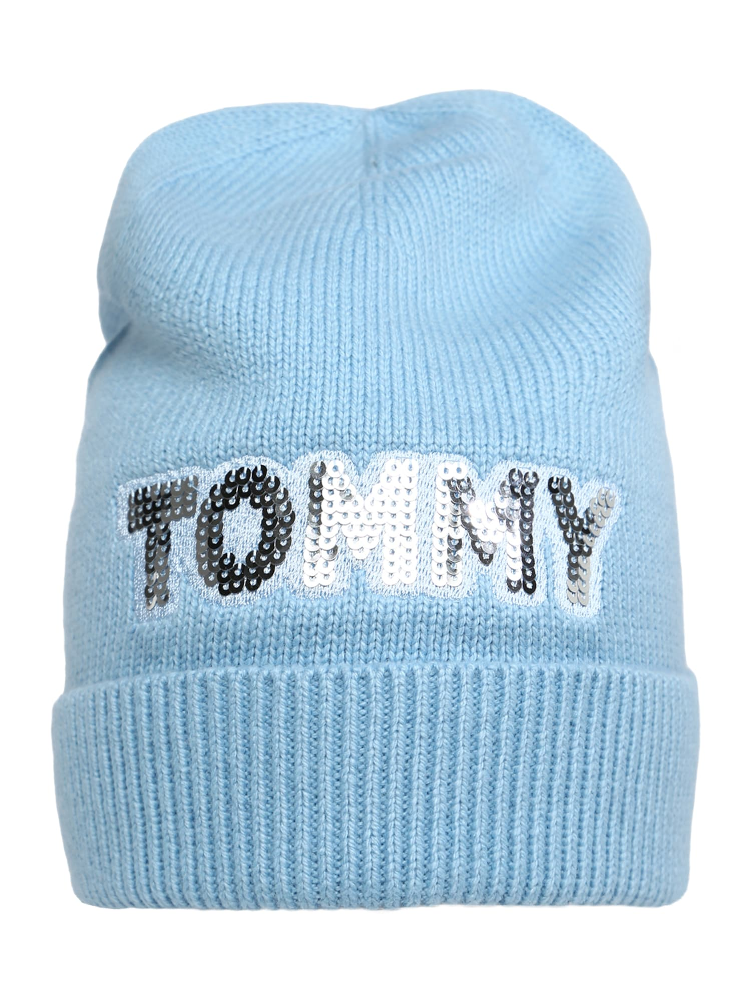TOMMY HILFIGER, Dames Muts 'TOMMY PATCH', lichtblauw / zilver