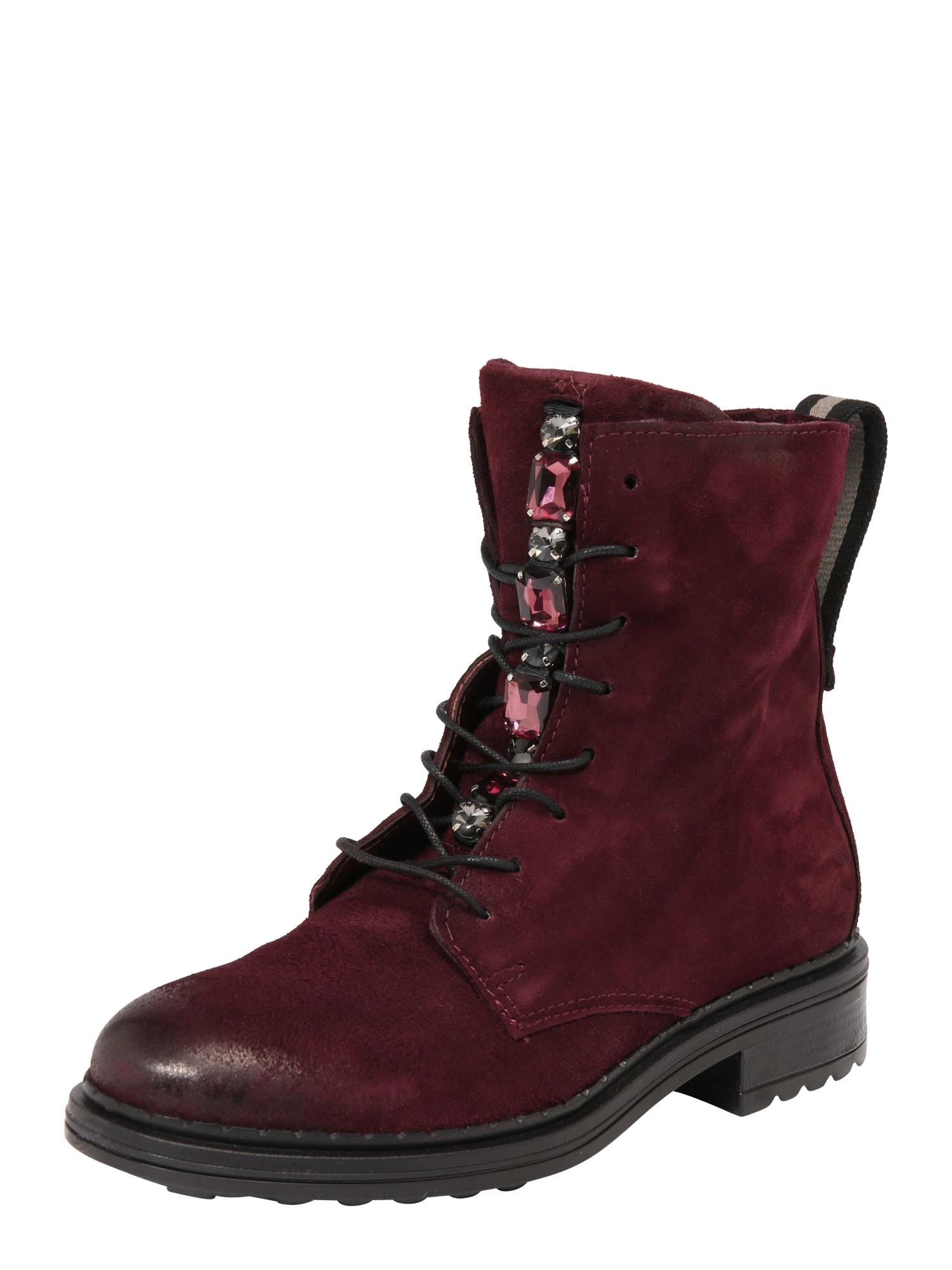 Šněrovací boty vínově červená MJUS