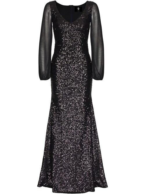 Zeitlose Eleganz und ein Hauch von Extravaganz zeichnen dieses lange Abendkleid mit stilvollem V-Ausschnitt aus. Der figurbetonte Schnitt mit dem dezent auslaufenden Rockteil macht aus dem paillettenbesetzten Kleid LINETTE von Four Flavor UG einen Blickfang der