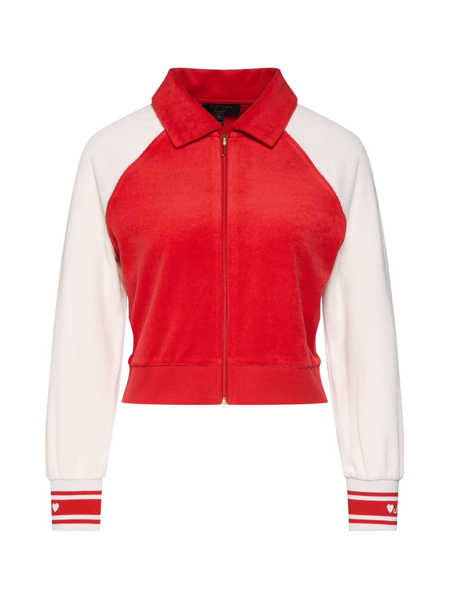 Mikina s kapucí JUICY COLORBLOCK MICREO TERRY JACKET červená Juicy Couture Black Label