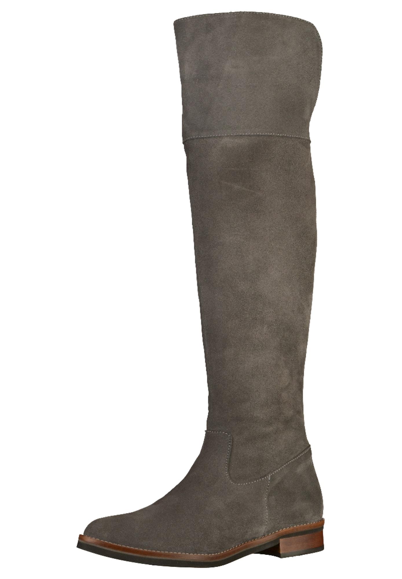 GADEA, Dames Overknee laarzen, basaltgrijs