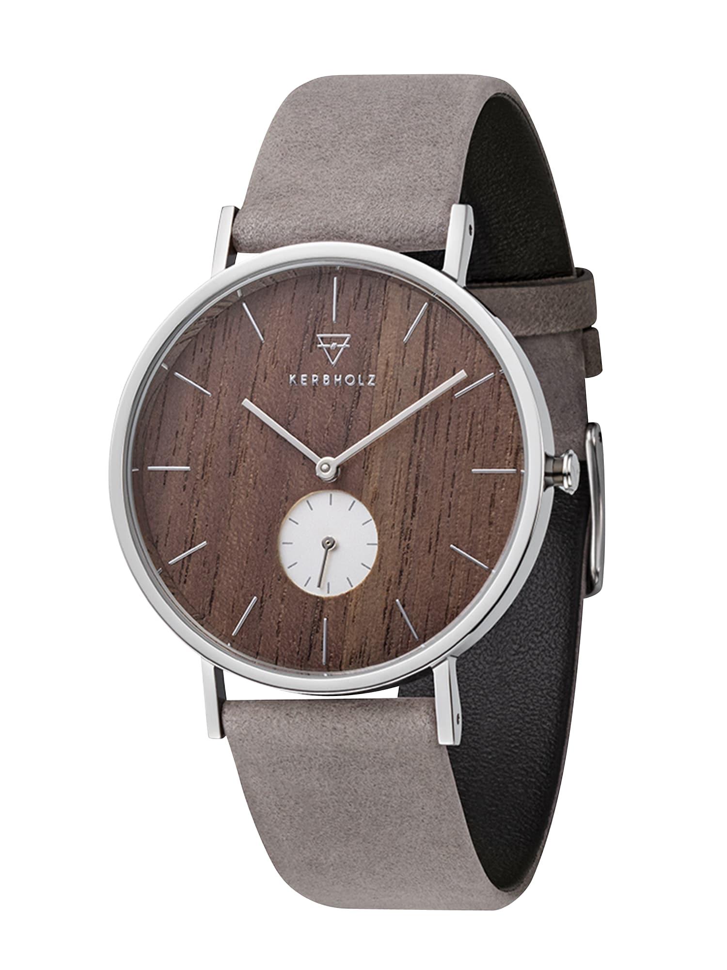 Analogové hodinky Fritz hnědá šedá Kerbholz