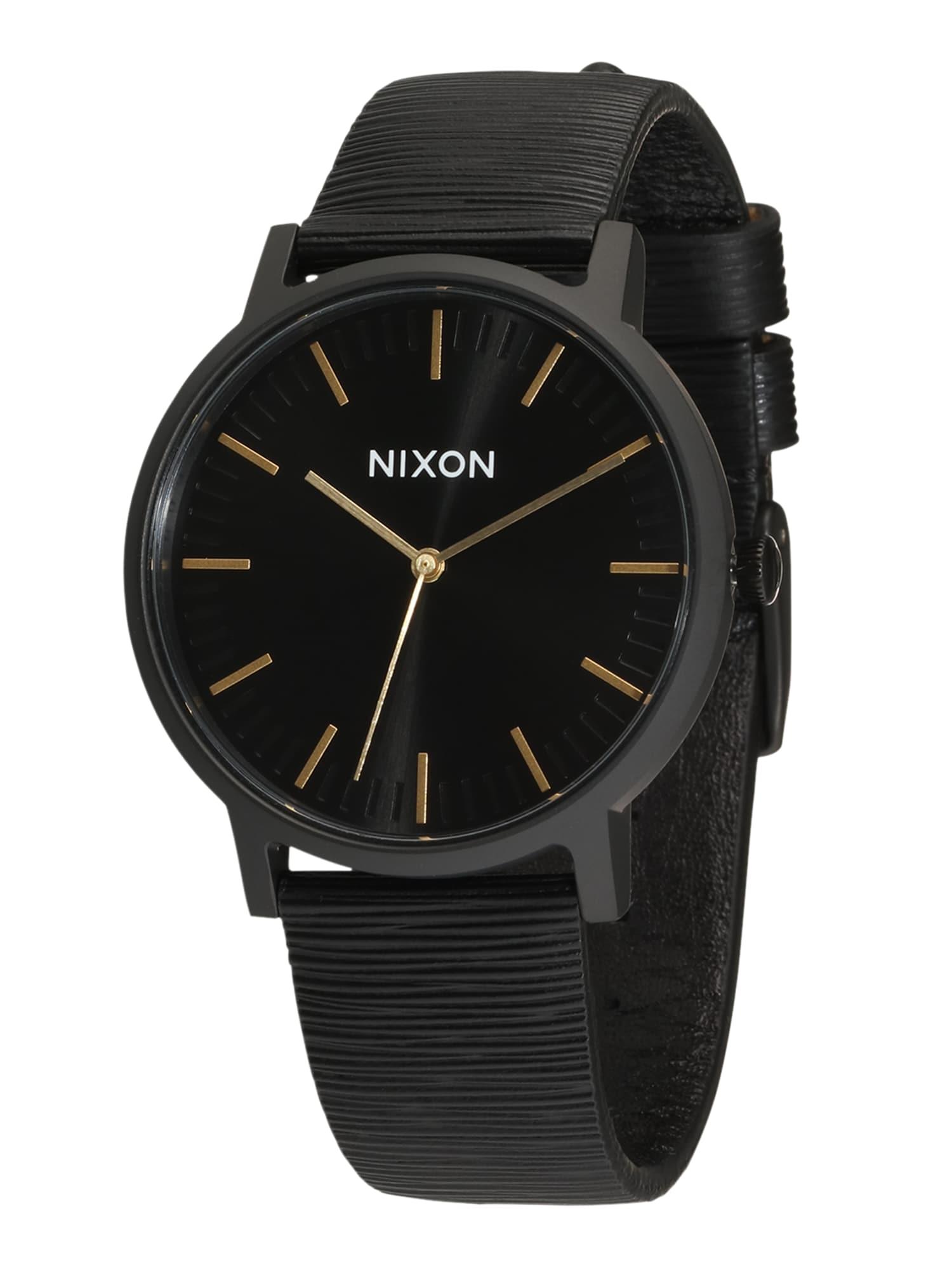 Analogové hodinky Porter Leather černá Nixon