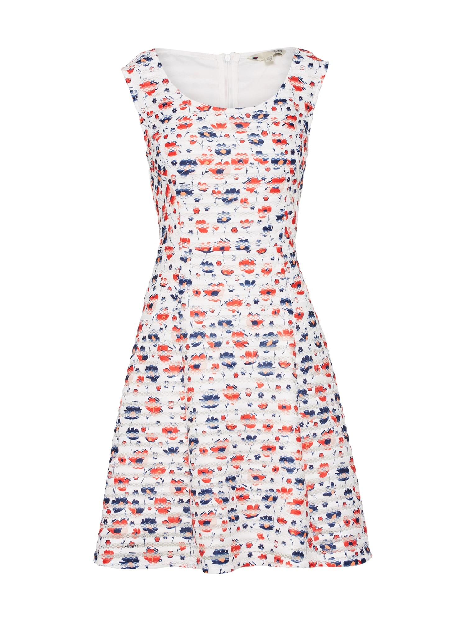 Letní šaty FLORAL FISHNET STRIPE mix barev červená bílá Yumi