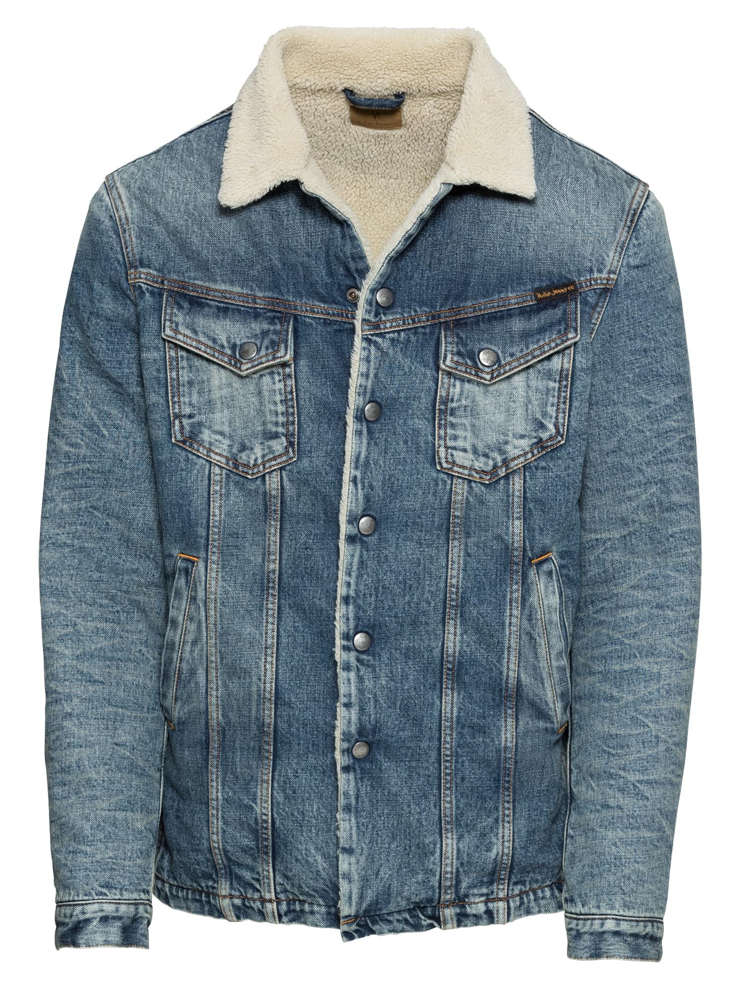 Přechodná bunda Lenny béžová modrá džínovina Nudie Jeans Co