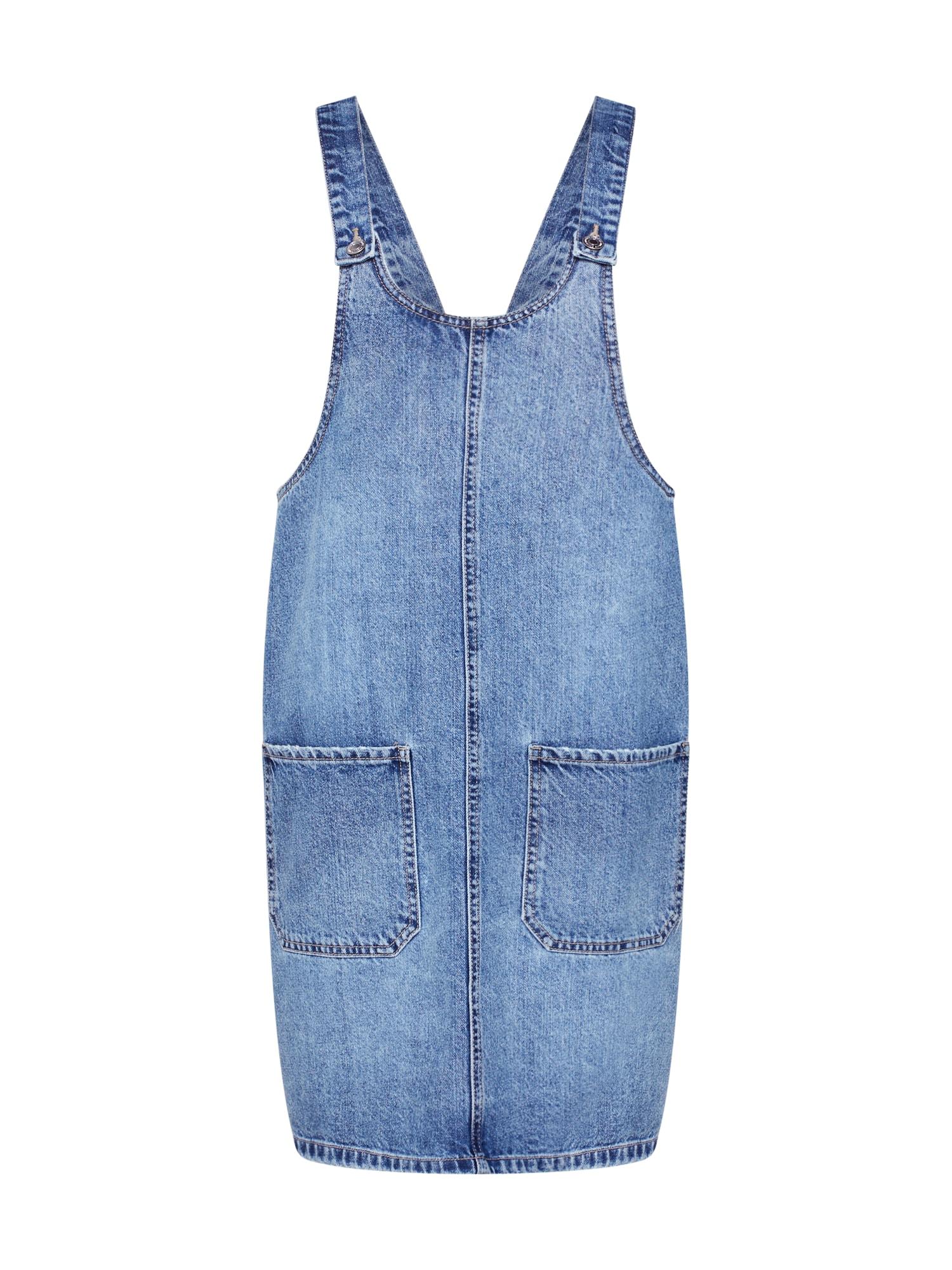 Laclová sukně Kali Pinafort modrá džínovina VERO MODA