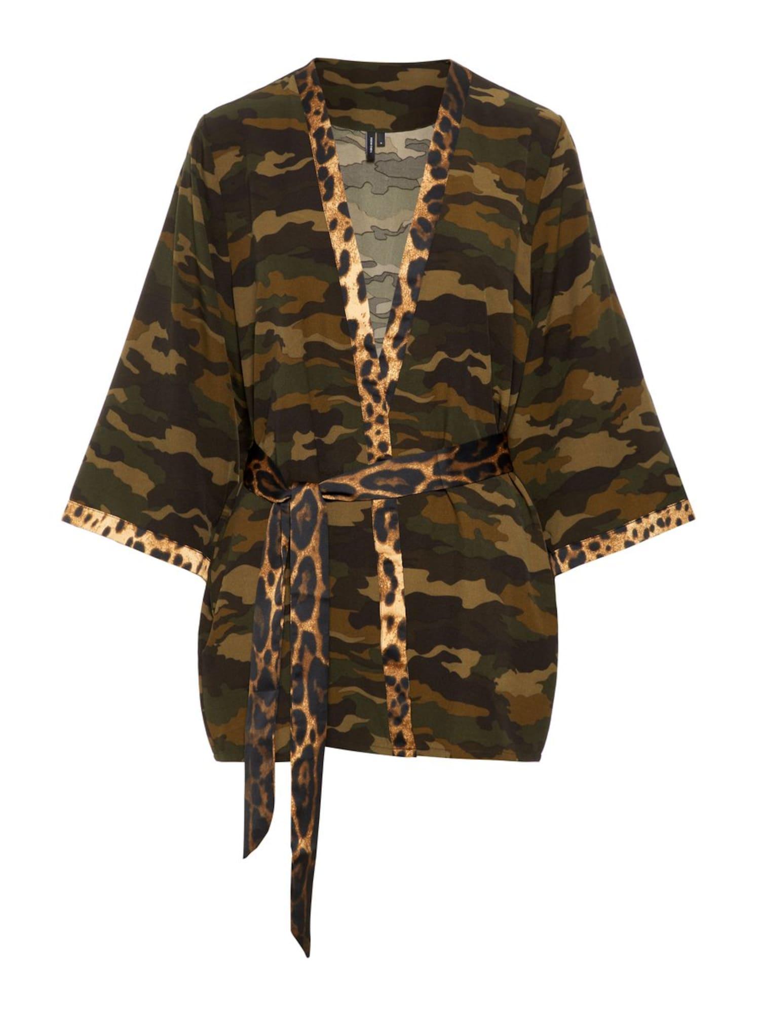 VERO MODA, Dames Kimono 'Camo', lichtbeige / bruin / kaki / zwart