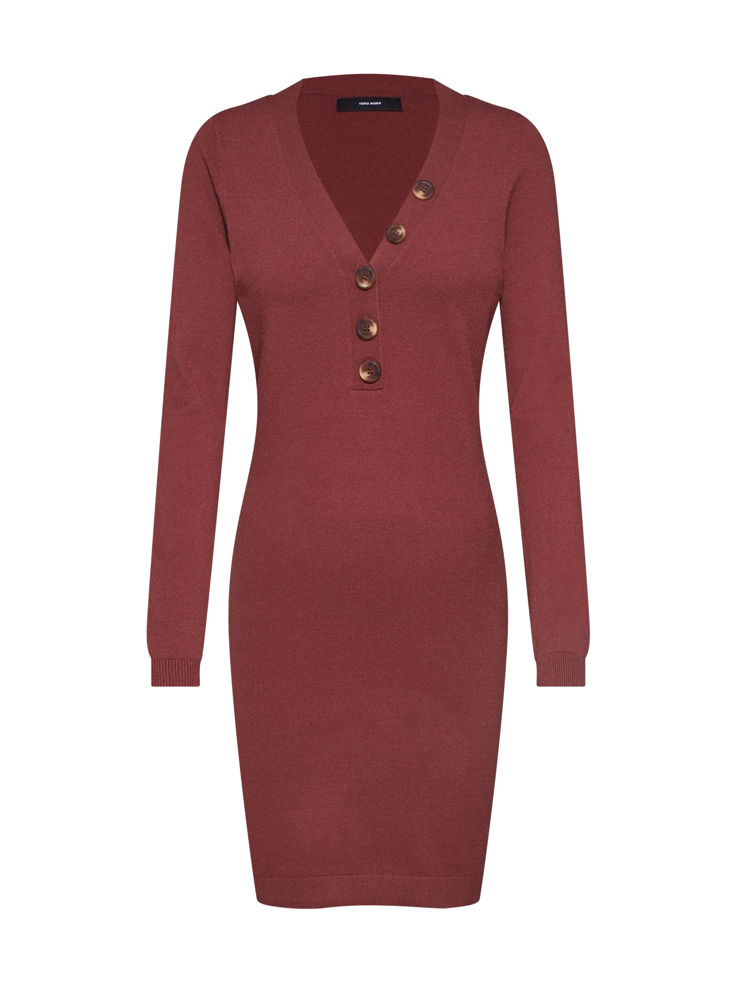 Úpletové šaty VMCHIP KARIS LS V-NECK BUTTON DRESS BOO rezavě hnědá VERO MODA