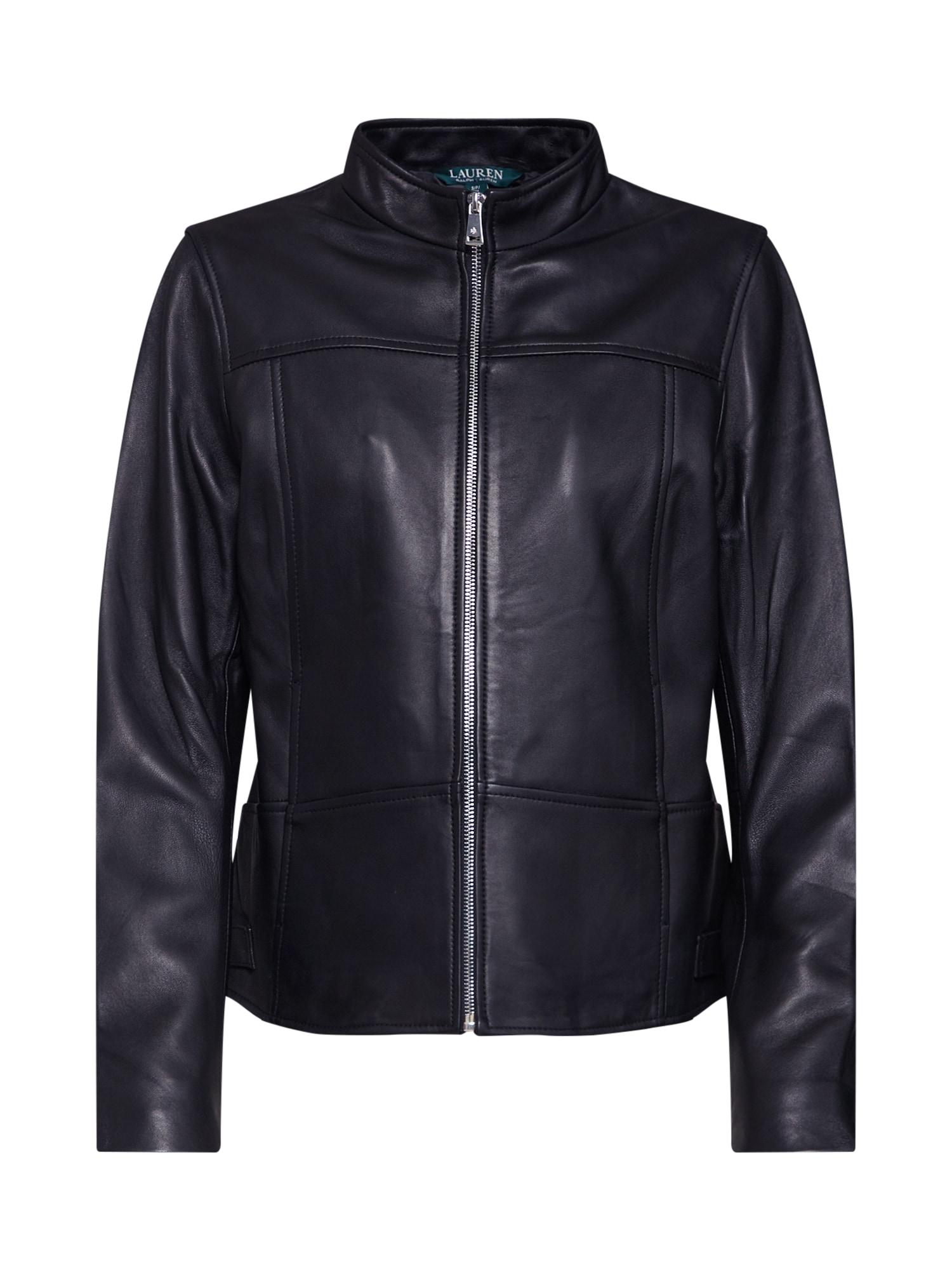 Přechodná bunda NEW LEATHER-JACKET černá Lauren Ralph Lauren