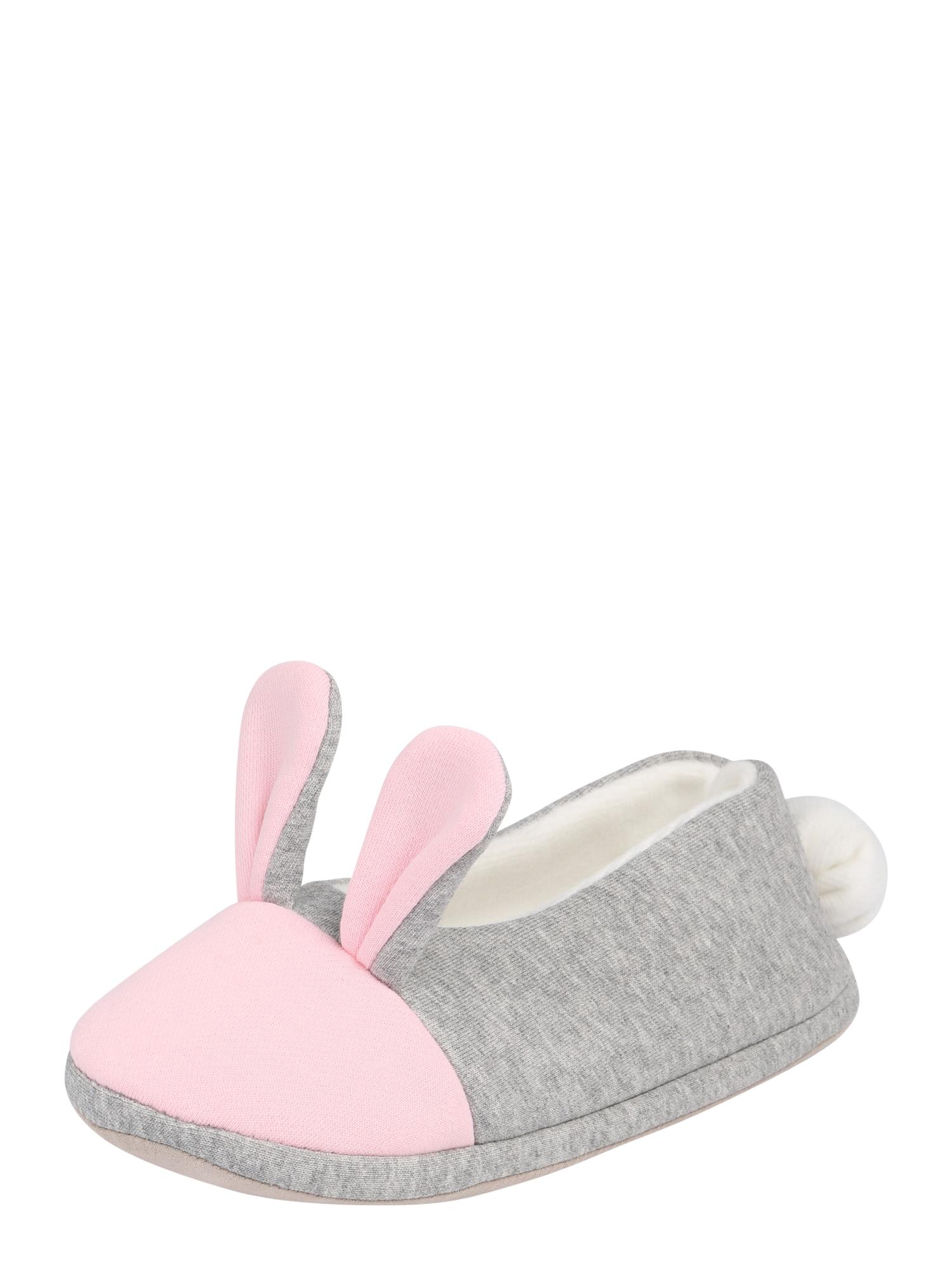 Ťapky Bunny  šedá  růžová  bílá BURLINGTON