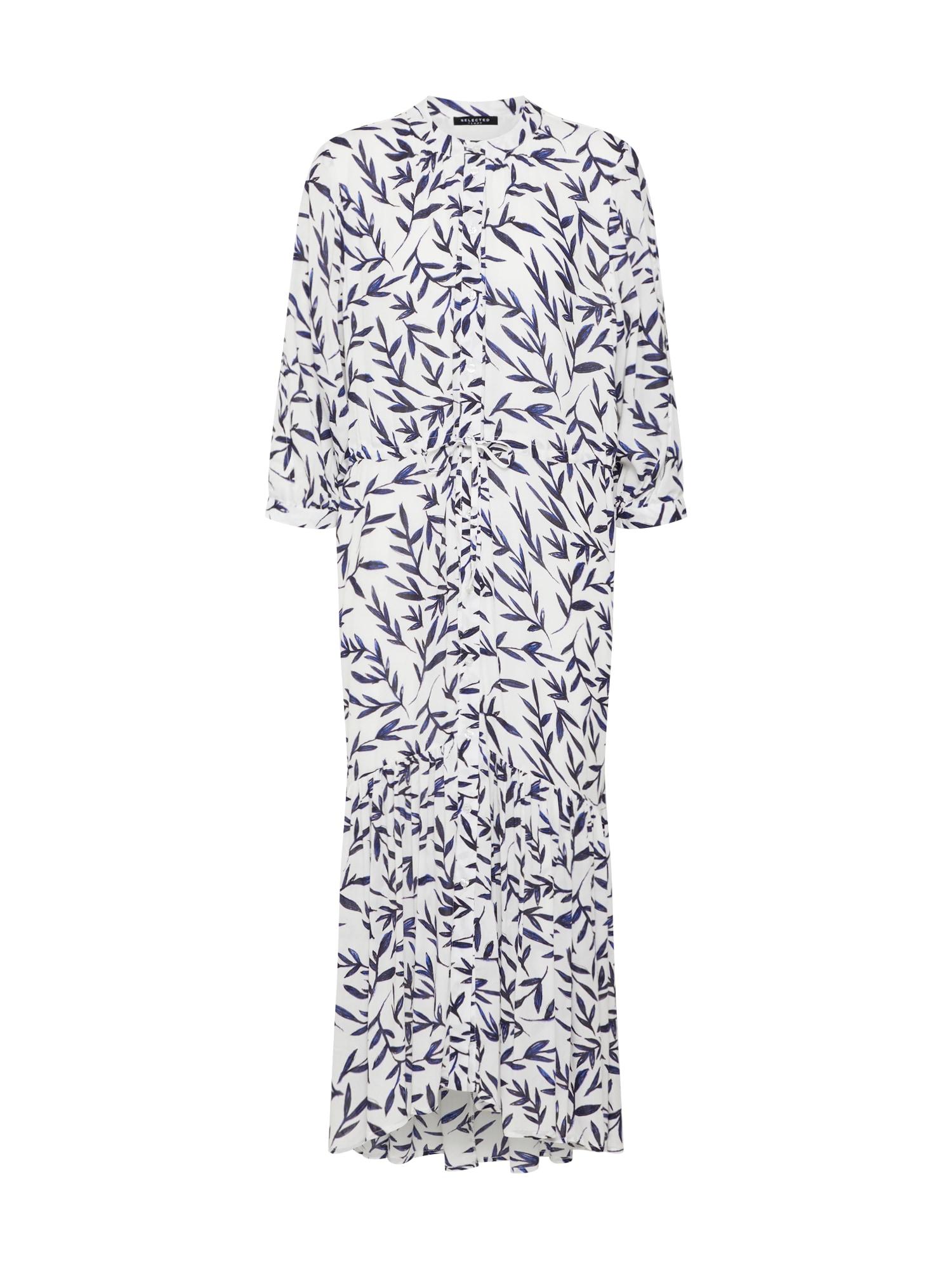 Košilové šaty BREE modrá bílá SELECTED FEMME