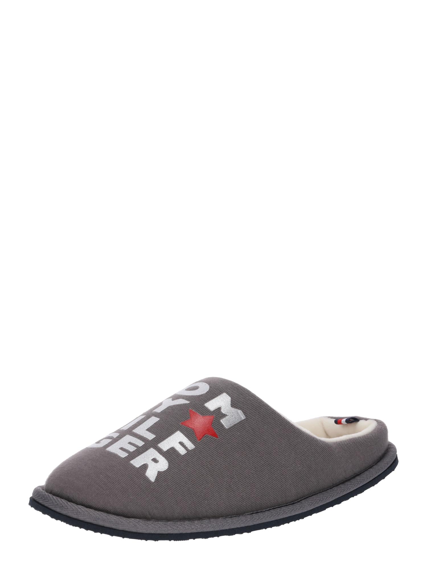 Pantofle METALLIC PRINT HOME šedá červená TOMMY HILFIGER