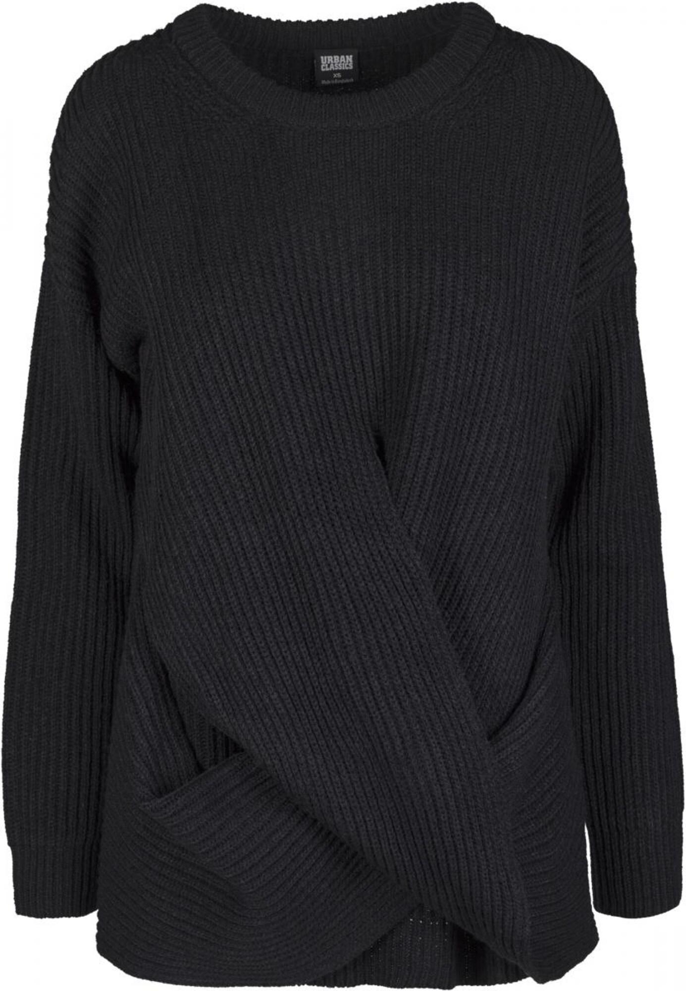 Svetr Ladies Wrapped Sweater černá Urban Classics Curvy
