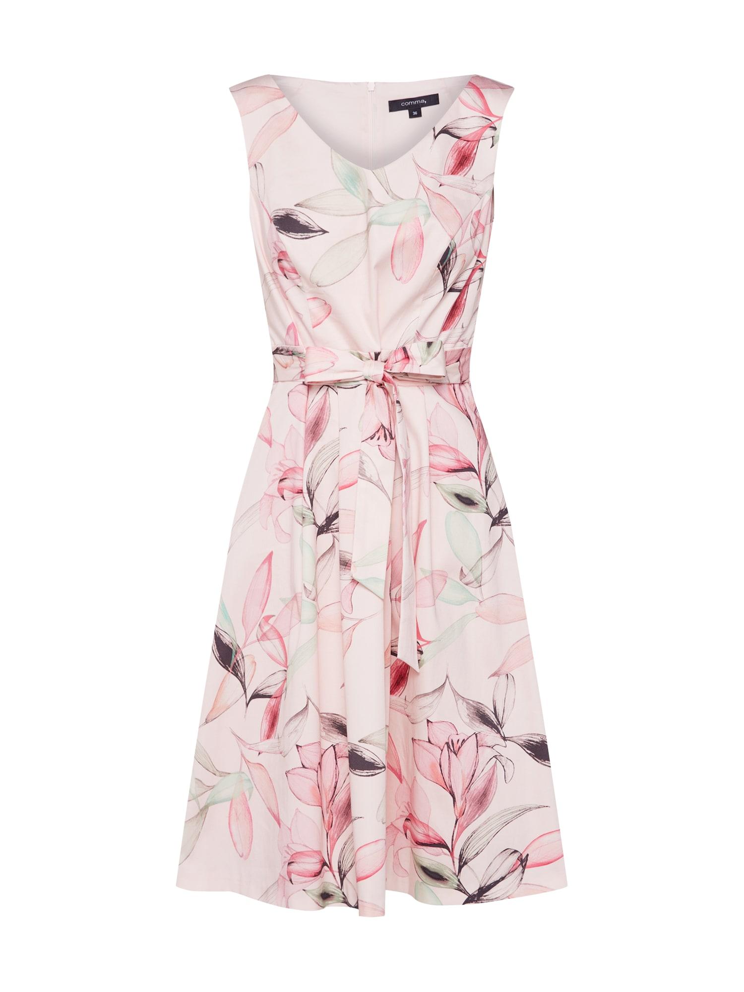 Letní šaty zelená růžová černá COMMA