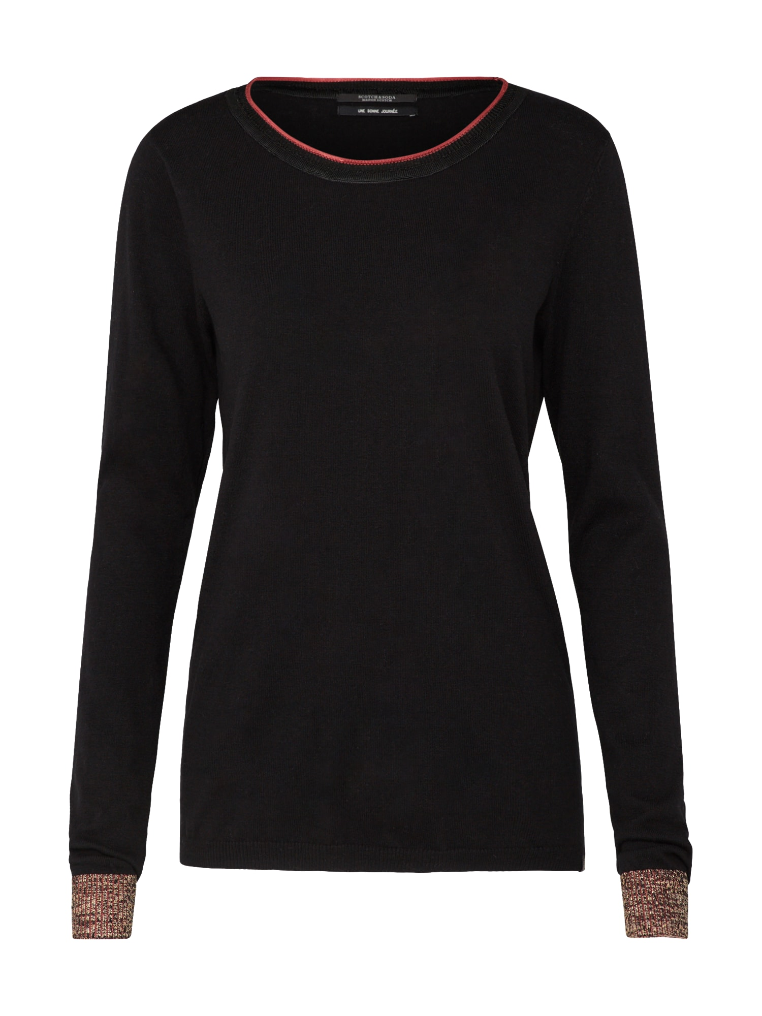 SCOTCH  and  SODA Dames Trui Basic crew neck knit with special ribs zwart
