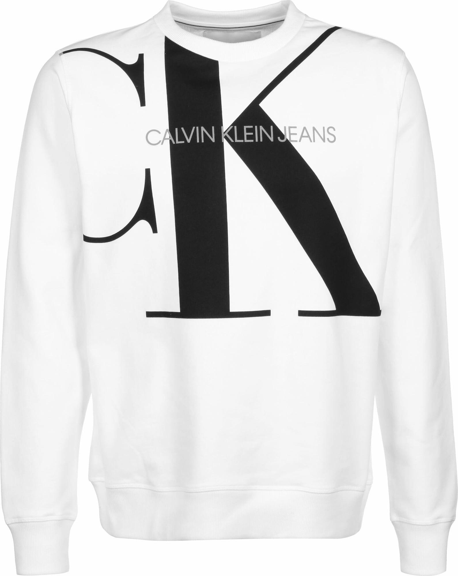 Calvin Klein Jeans Mikina 'Upscale Monogram'  šedá / černá / bílá