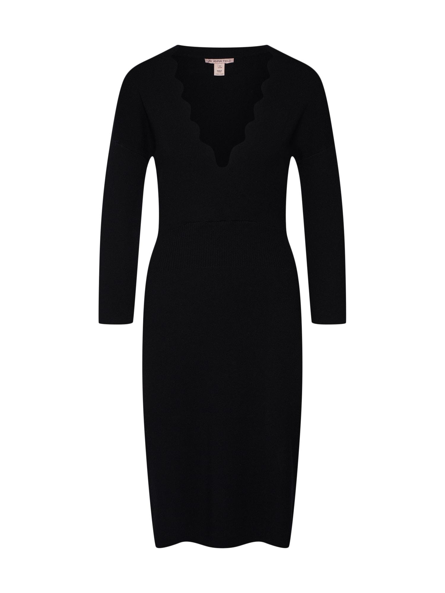Anna Field Gebreide jurk 'scallop overlap dress' zwart