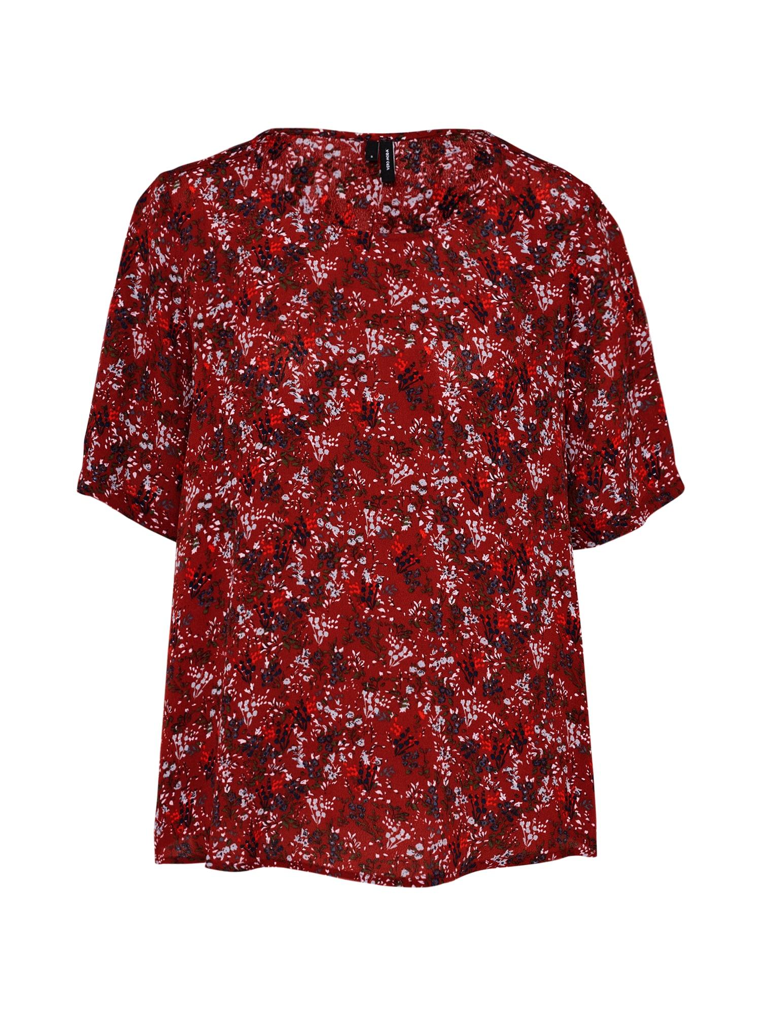 Tričko šedá tmavě červená VERO MODA