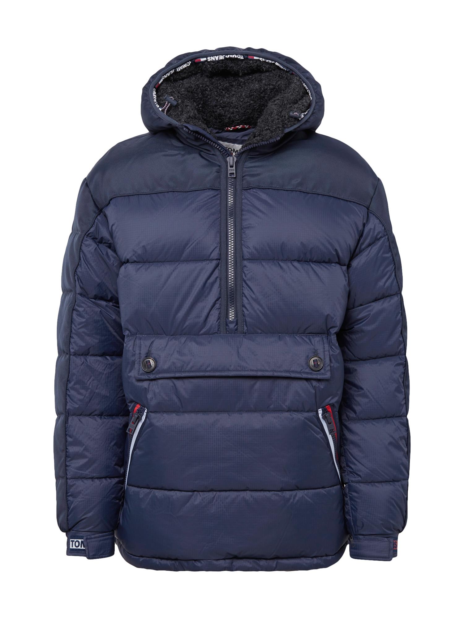 Zimní bunda TJM MIXED FABRIC POPOVER tmavě modrá Tommy Jeans