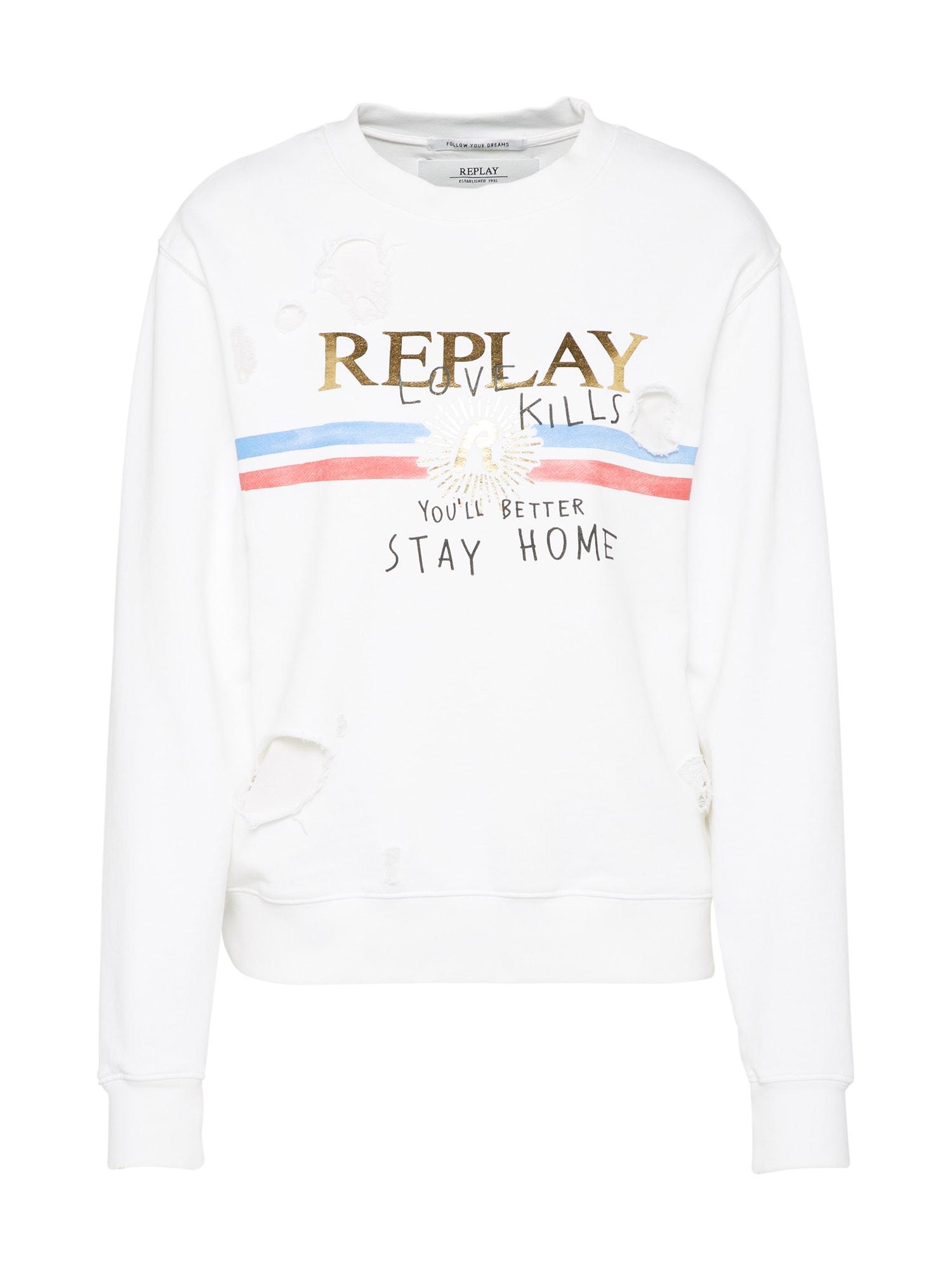 REPLAY Dames Sweatshirt wit
