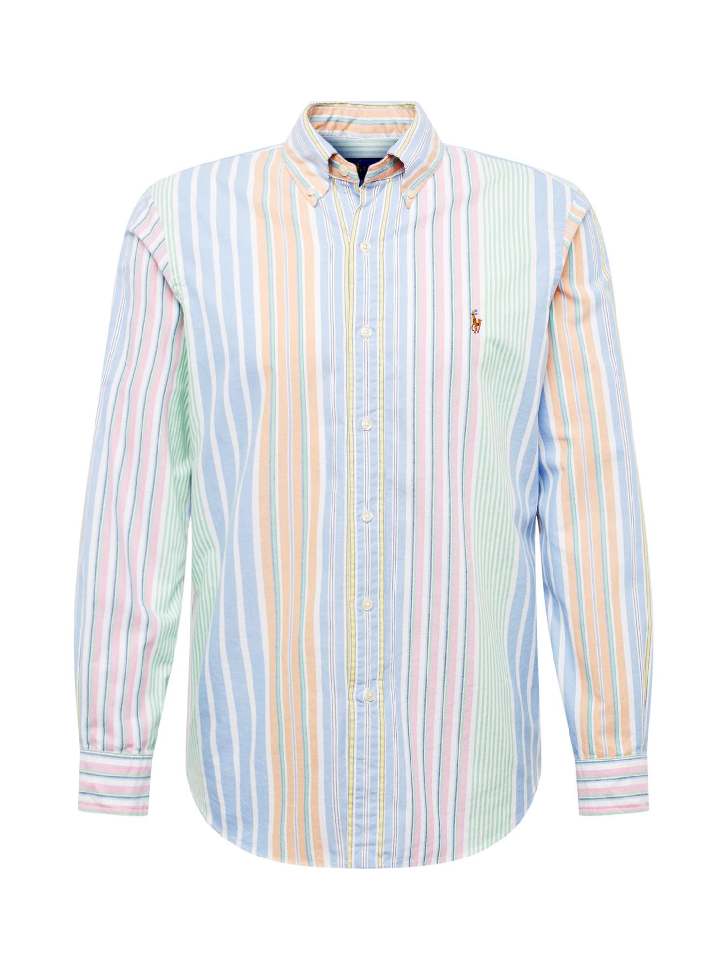 Košile BD PPC SPT-LONG SLEEVE-SPORT SHIRT modrá světle zelená jasně oranžová starorůžová POLO RALPH LAUREN