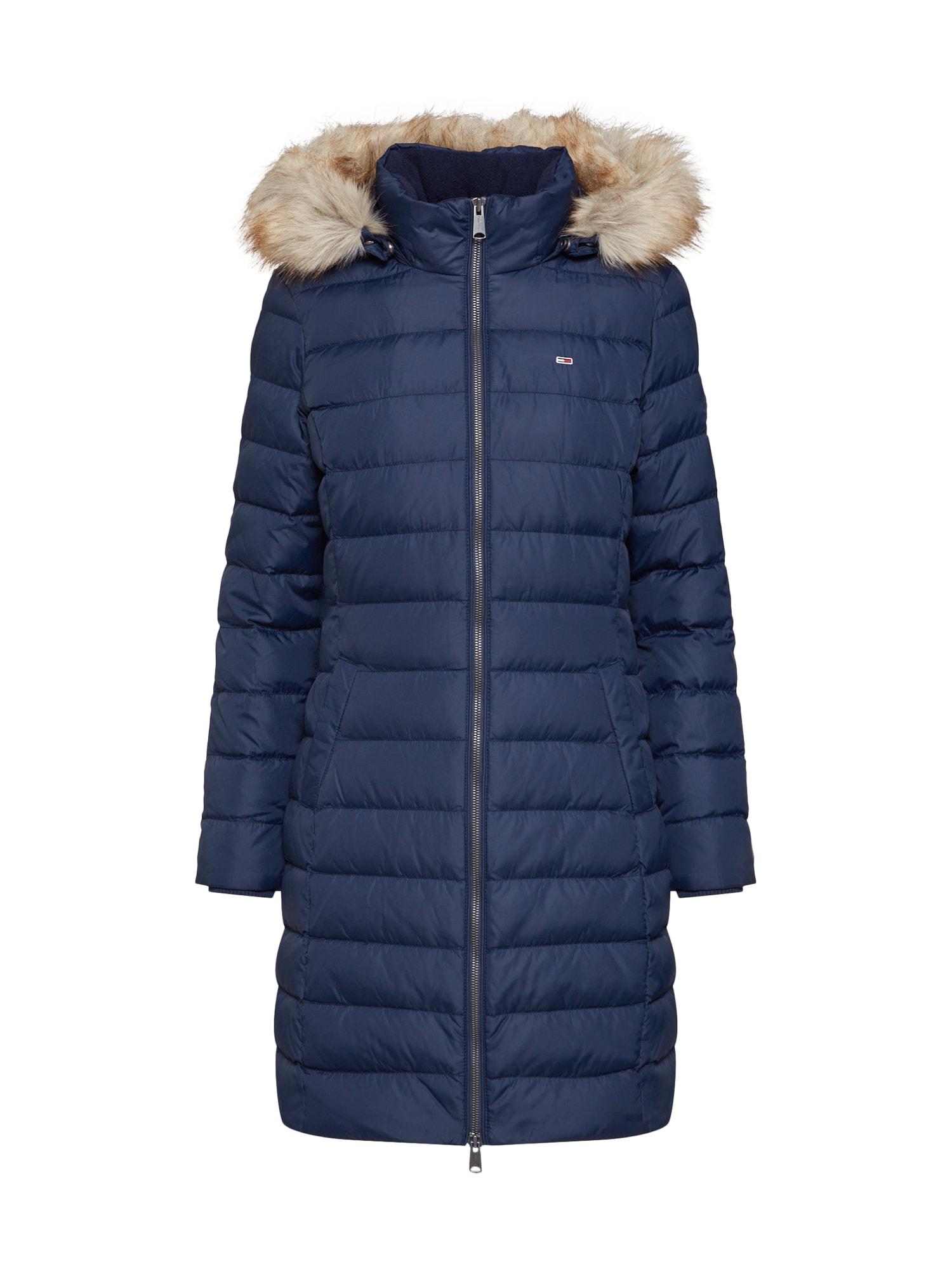 Zimní kabát TJW ESSENTIAL HOODED DOWN COAT námořnická modř Tommy Jeans