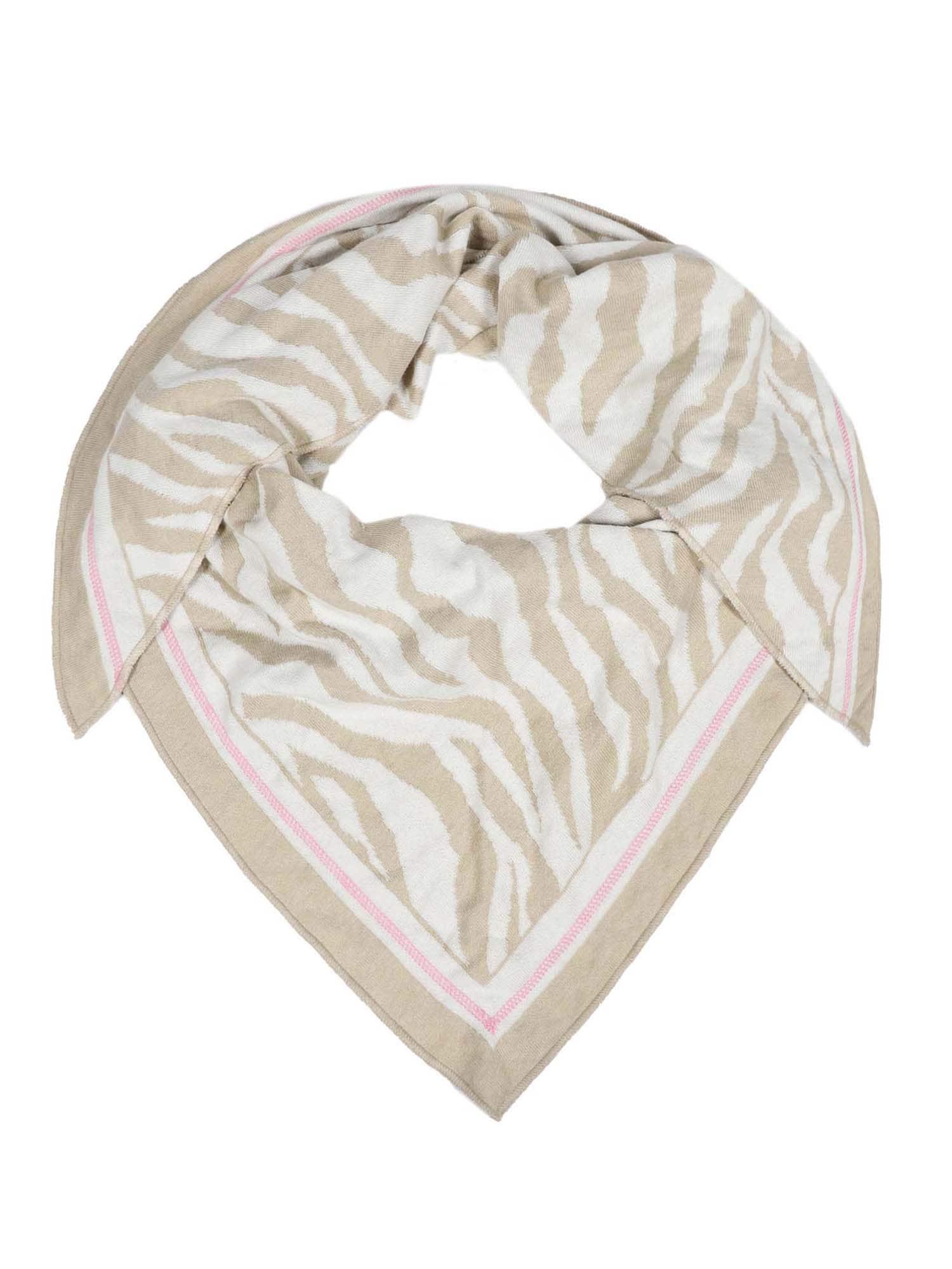 Zwillingsherz Šála 'Dreieckstuch Zebra '  růžová / béžová / bílá