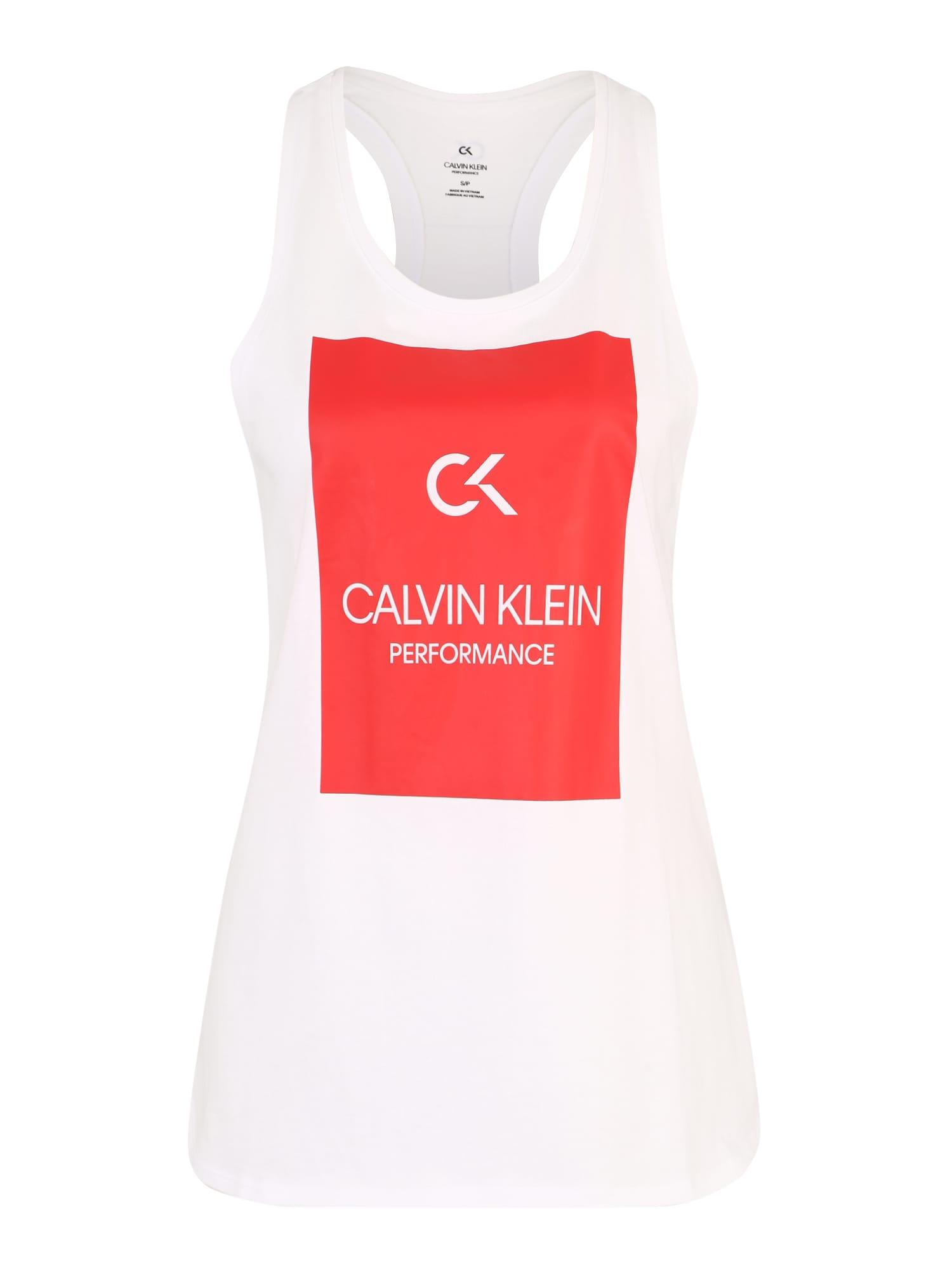Sportovní top BILLBOARD červená bílá Calvin Klein Performance