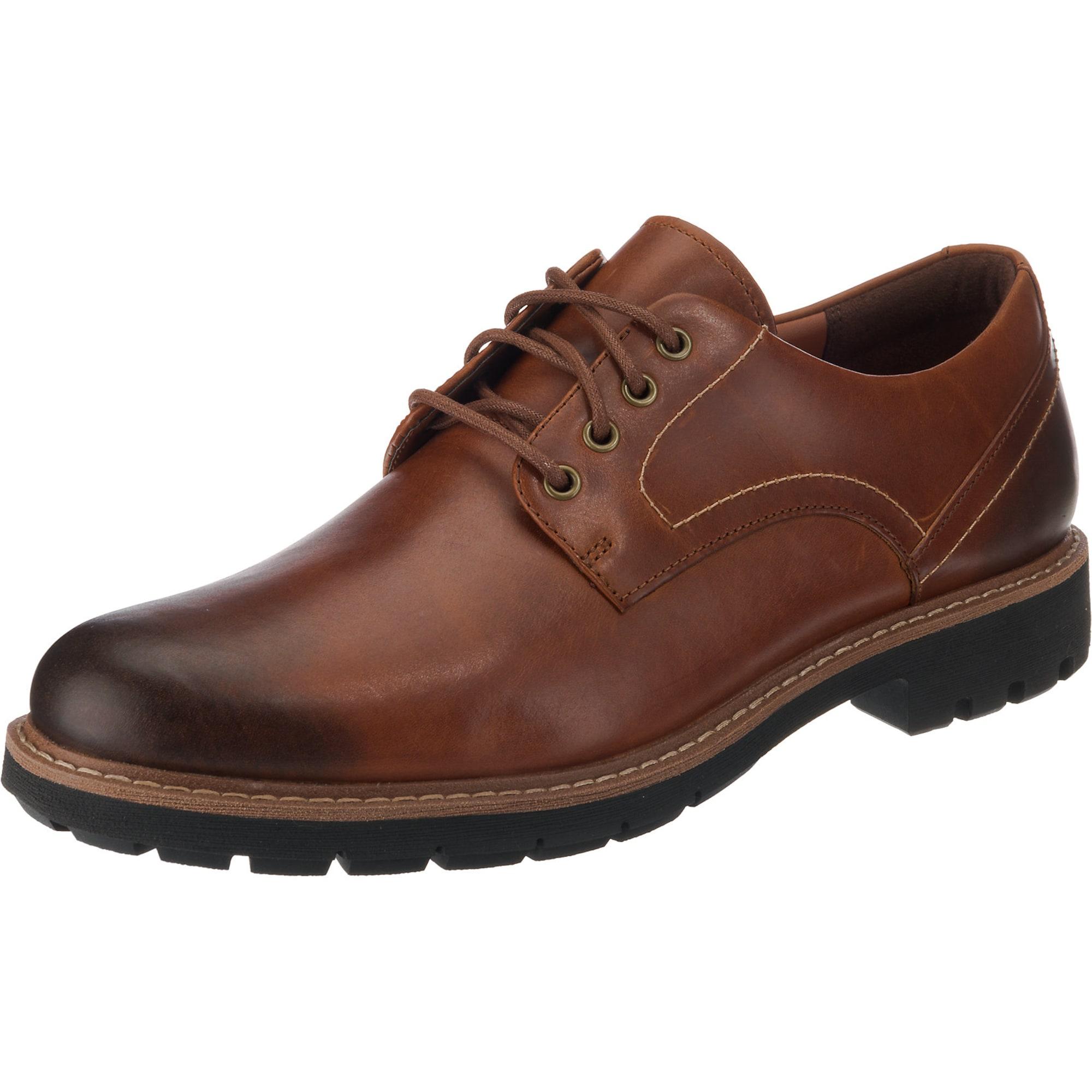 Šněrovací boty Batcombe Hall rezavě hnědá černá CLARKS