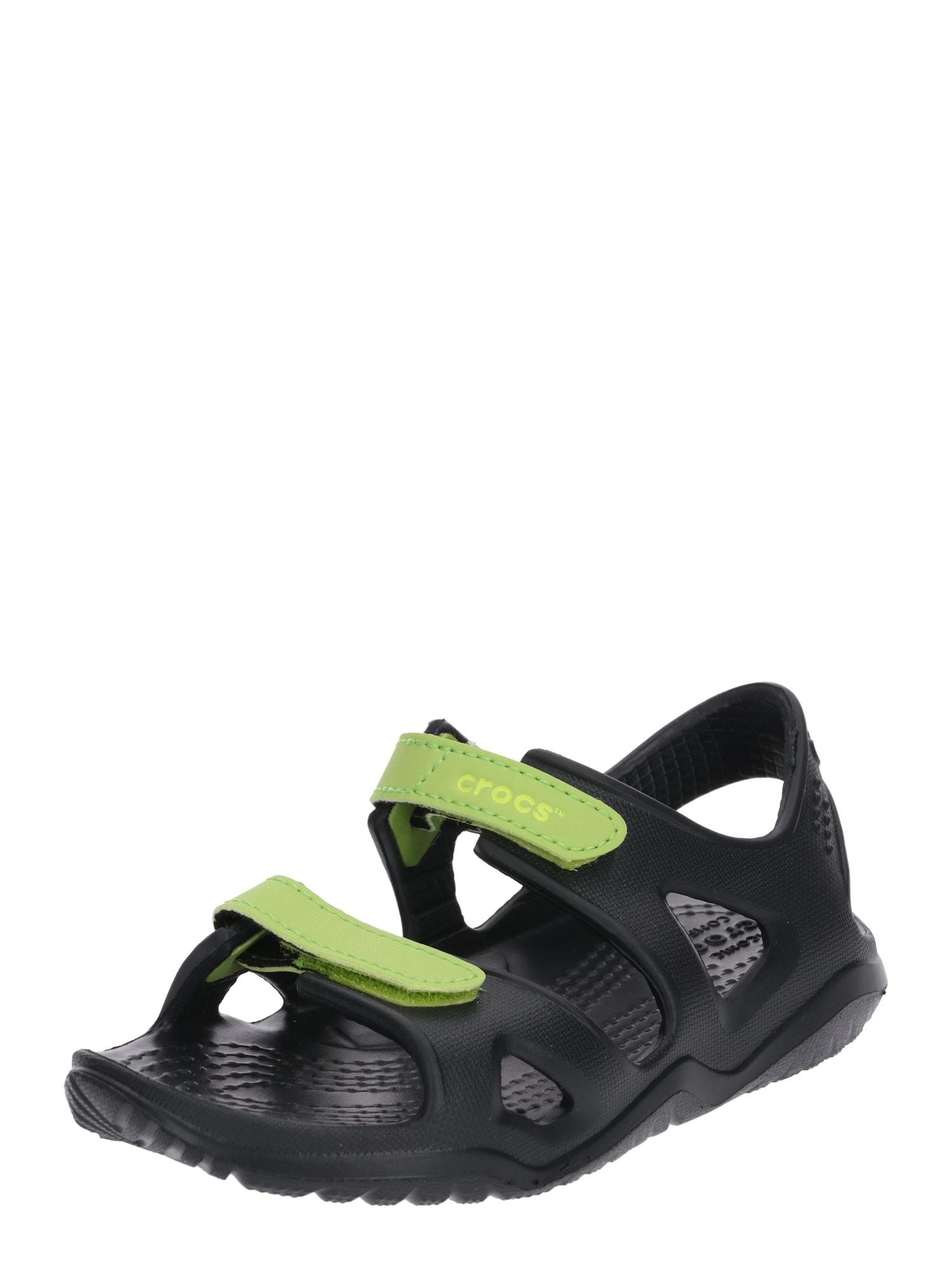 Otevřená obuv Swiftwater River svítivě zelená černá Crocs