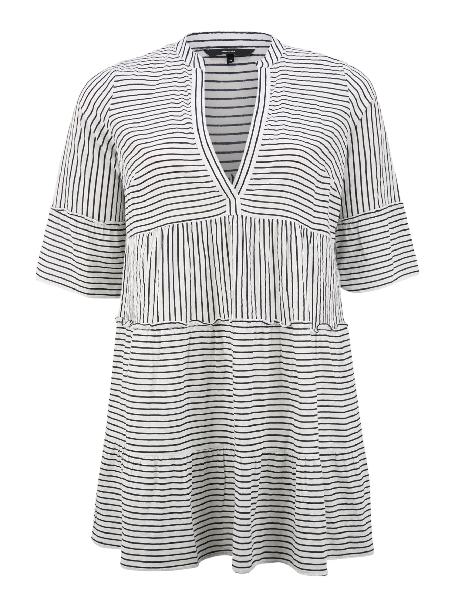 Vero Moda Curve Šaty 'VMHELI'  noční modrá / bílá