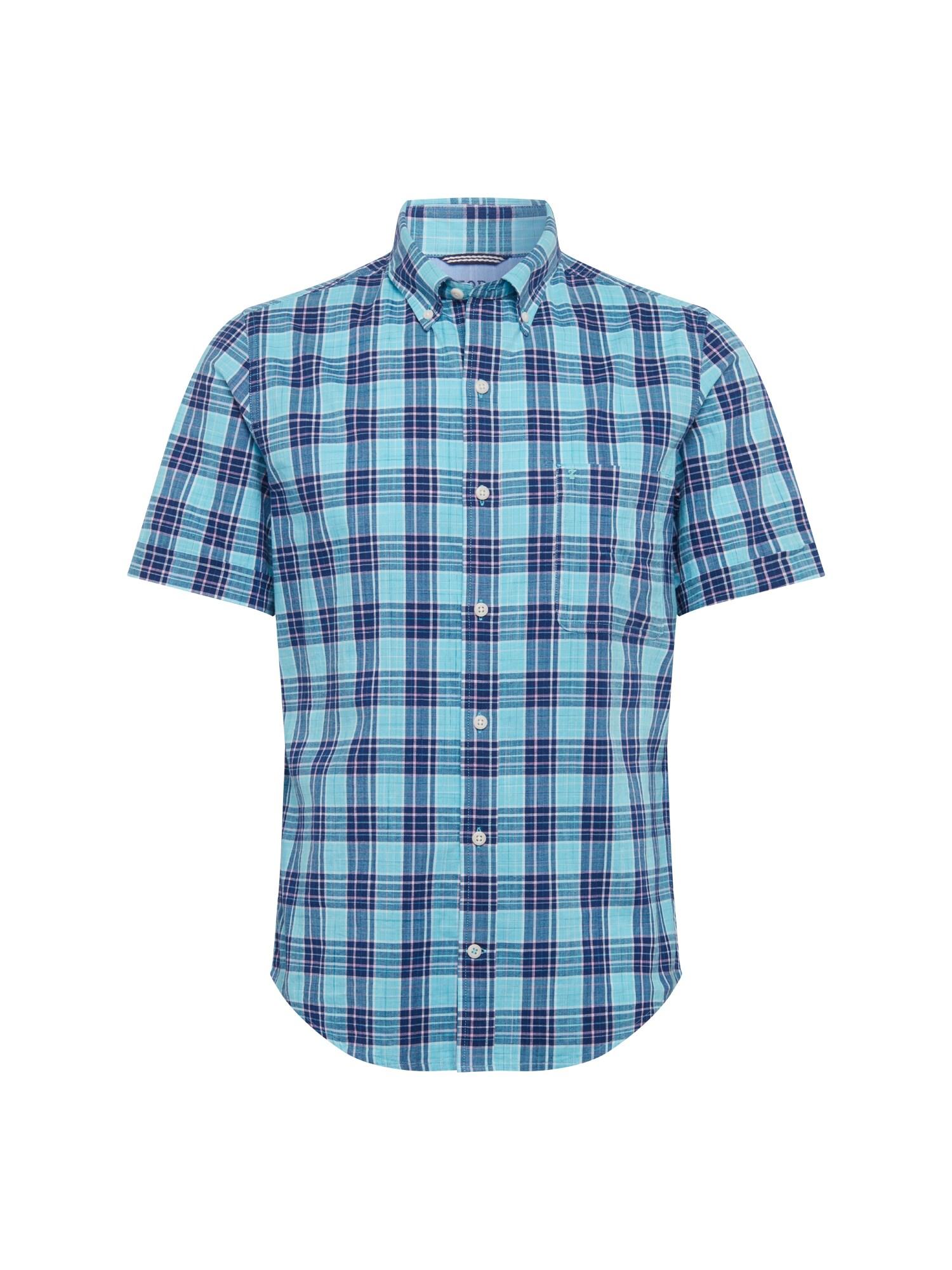 Košile DOCKSIDE CHAMBRAY PLAID SS SHIRT modrá IZOD