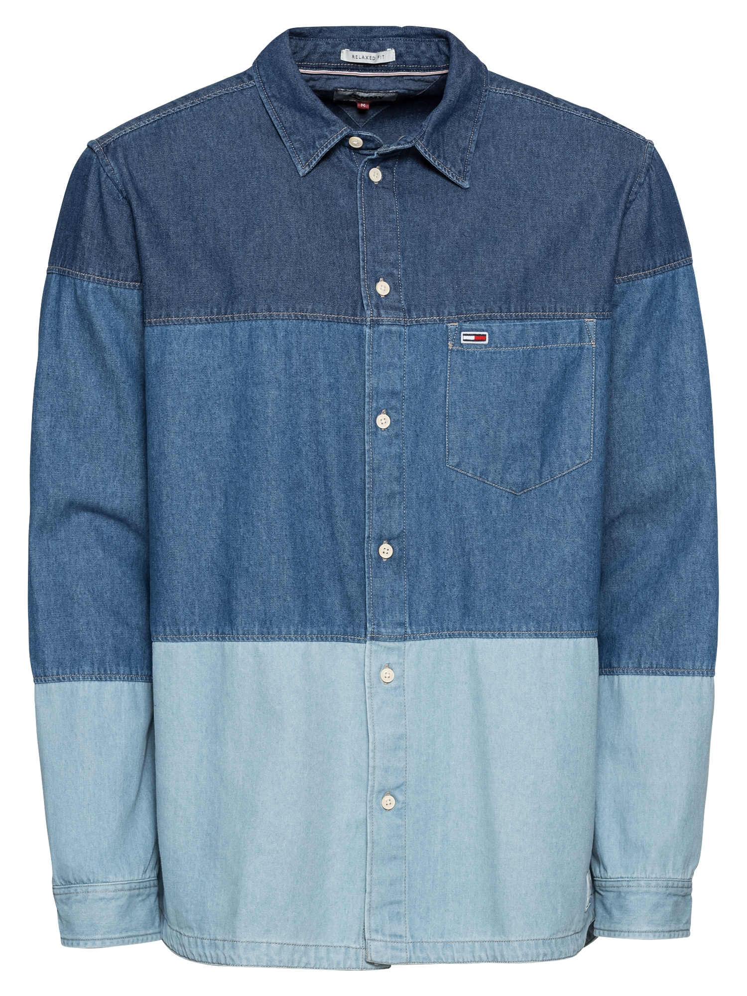 Košile TJM DENIM BLOCK SHIRT modrá Tommy Jeans