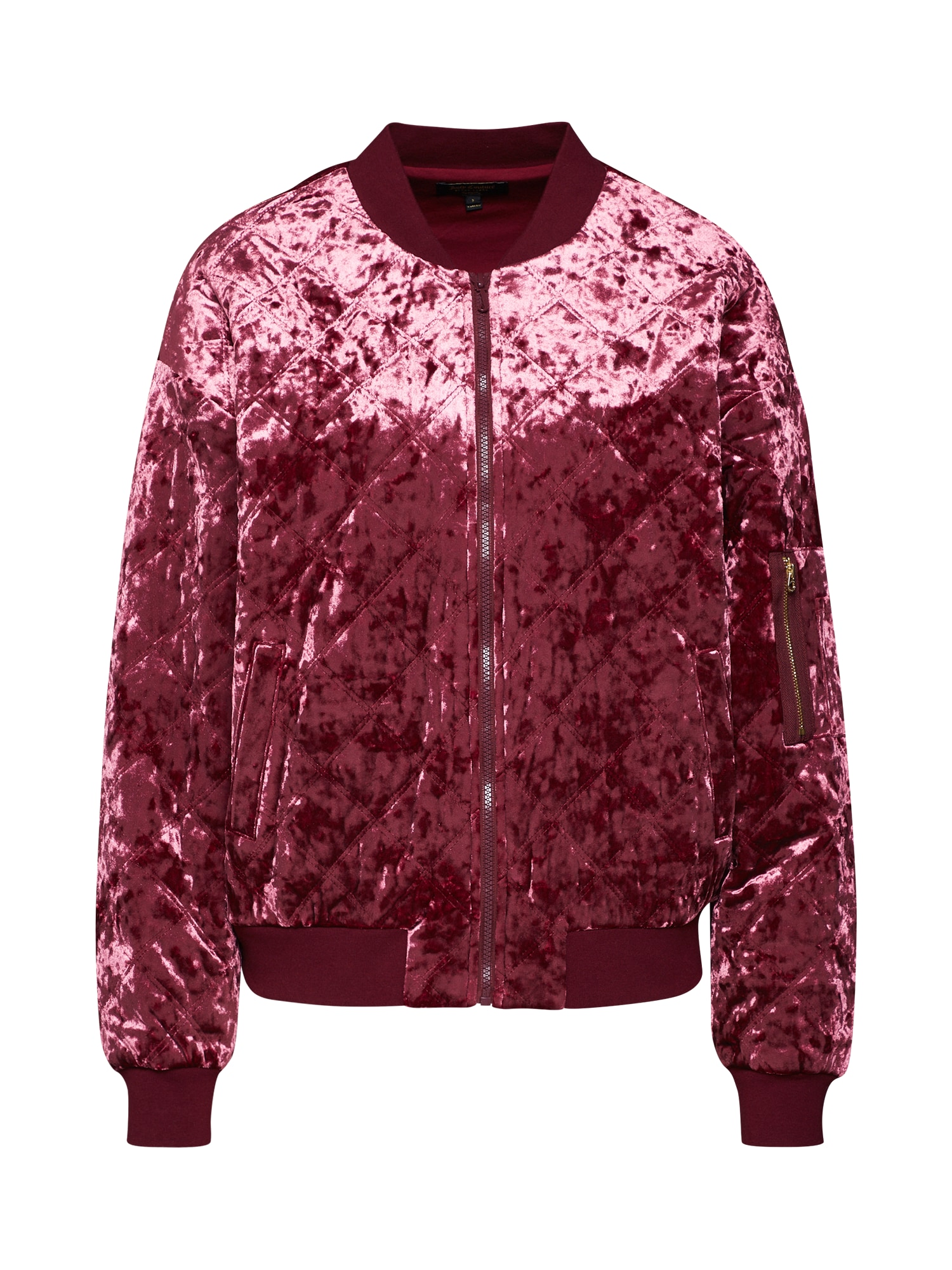 Přechodná bunda Crushed Velour Quilted Bomber Jacket vínově červená Juicy Couture Black Label