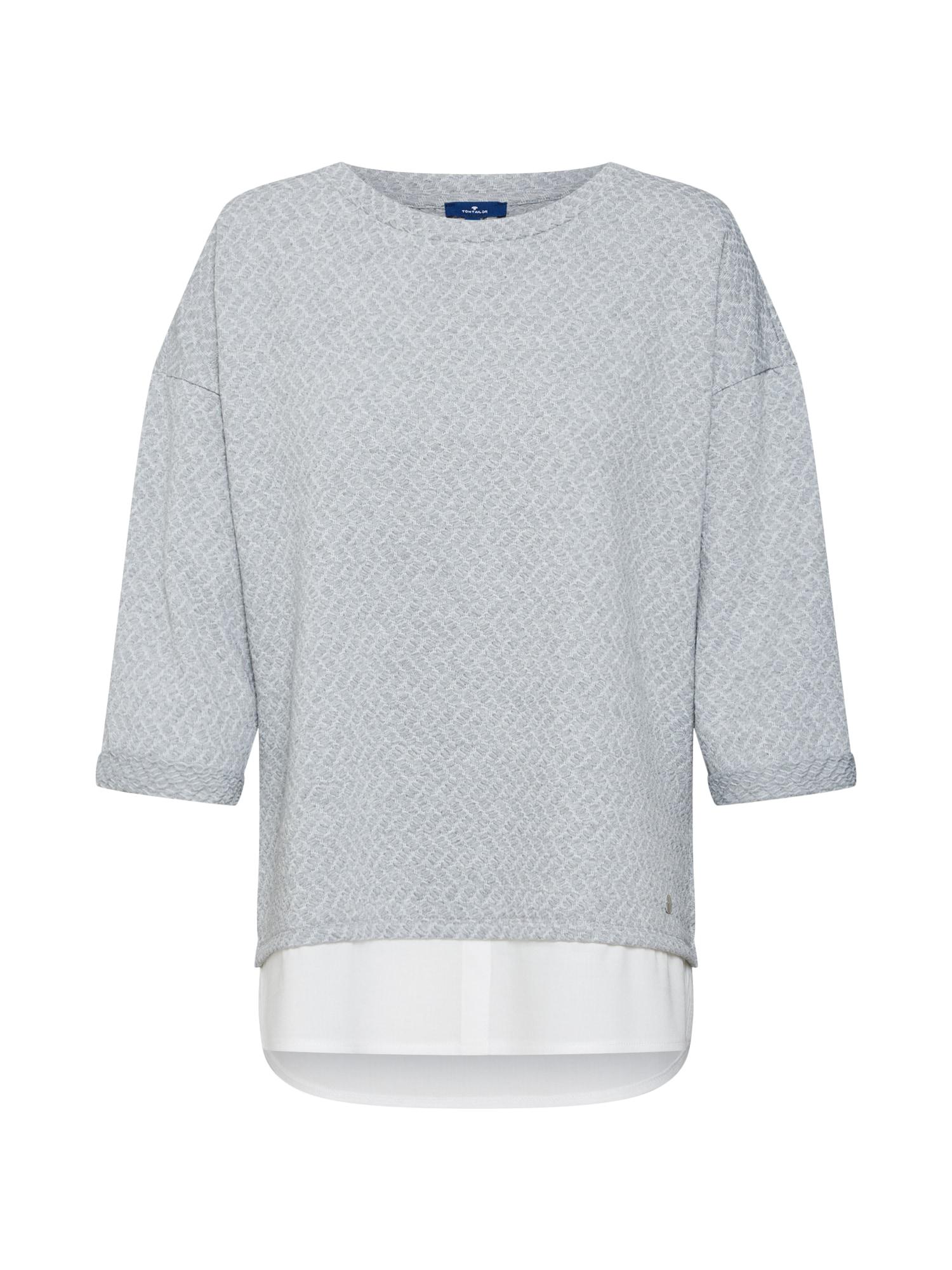 TOM TAILOR, Dames Sweatshirt, zilvergrijs / wit