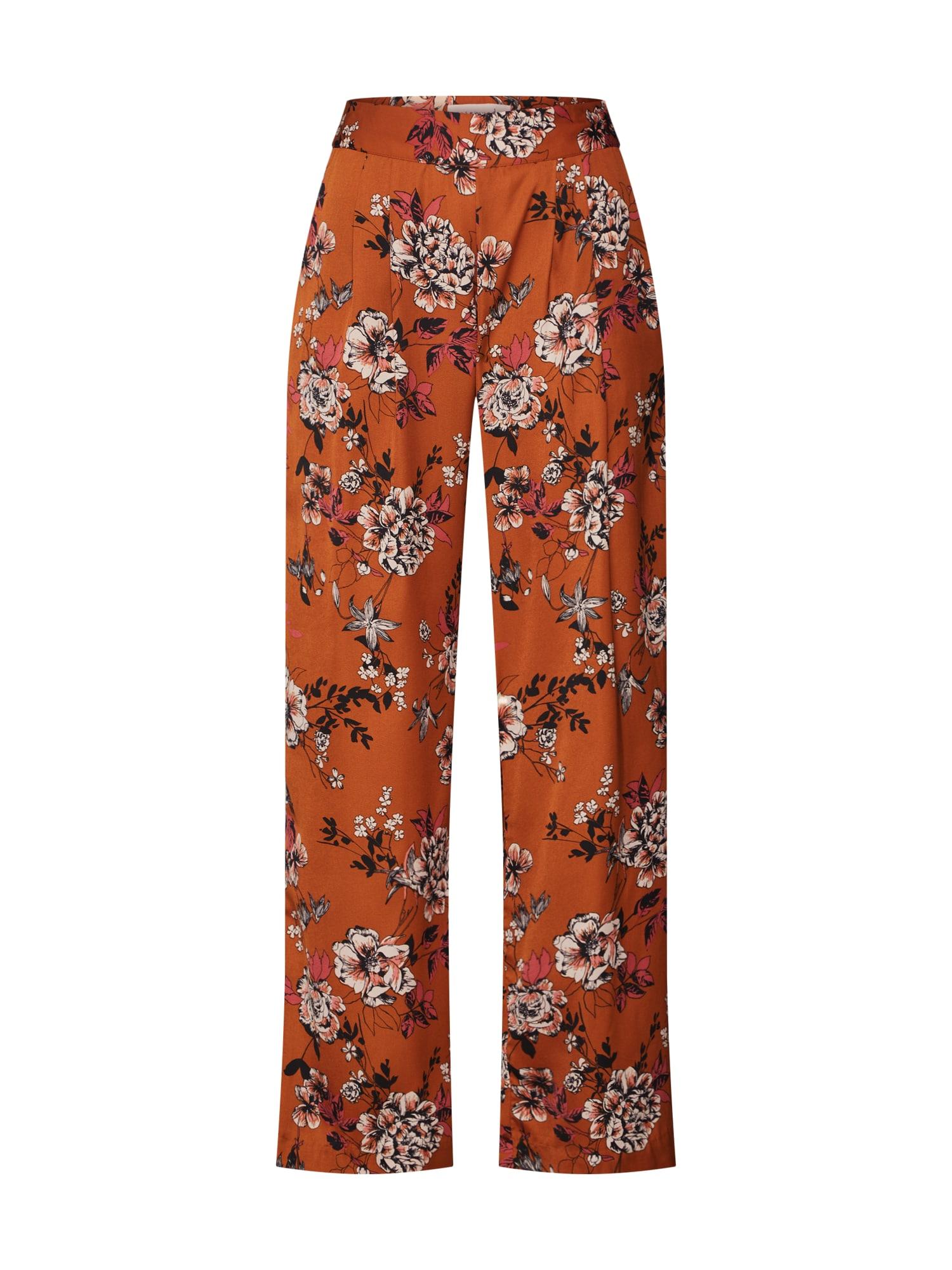 Kalhoty se sklady v pase koňaková mix barev Rosemunde