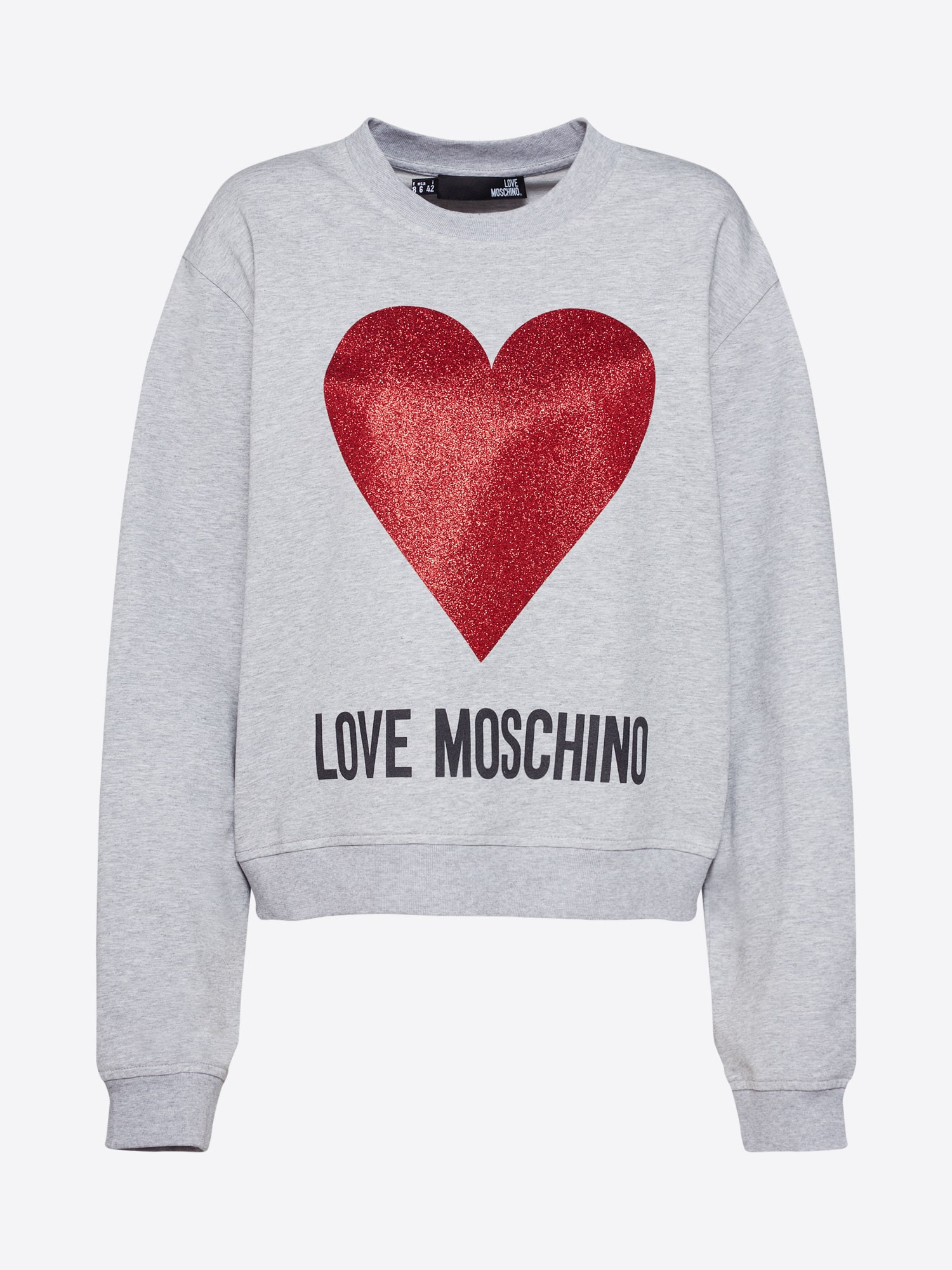 Mikina FELPA GIROCOLLO ST.CUORE LOGO šedá Love Moschino