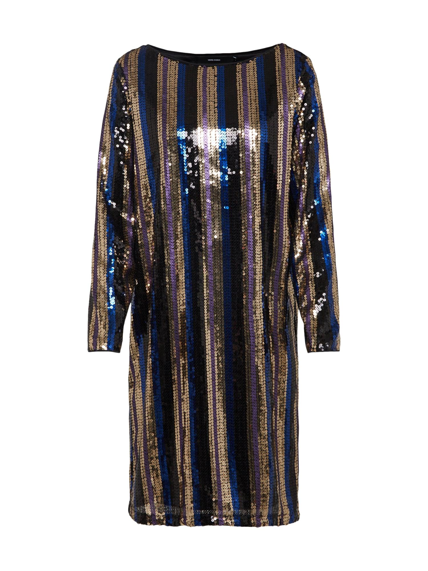 VERO MODA, Dames Cocktailjurk 'DORIS BOATNECK DRESS', navy / goud / zwart