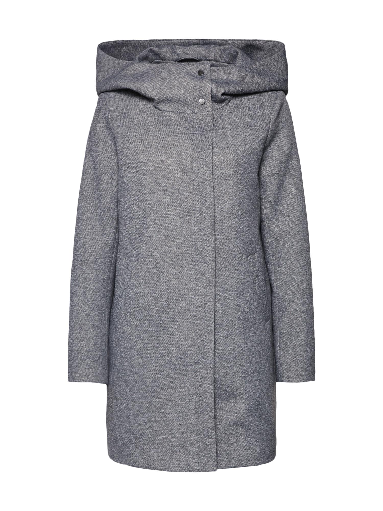 Přechodný kabát onlMADDIE LIGHT HOODED LONG COAT CC OTW světle šedá ONLY
