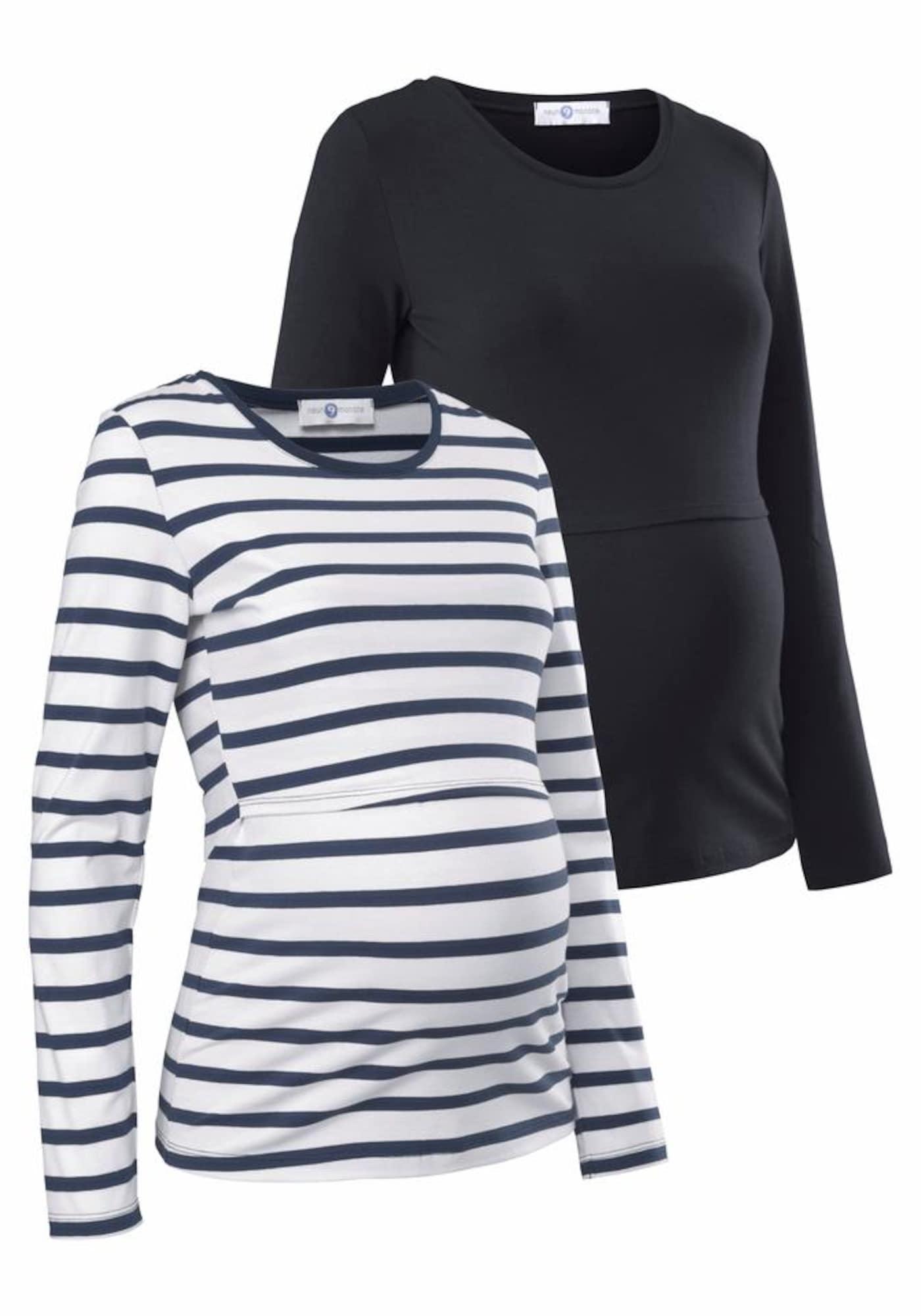 Umstandsshirt | Bekleidung > Umstandsmode > Umstandsshirts | Blau - Schwarz - Weiß | neun monate