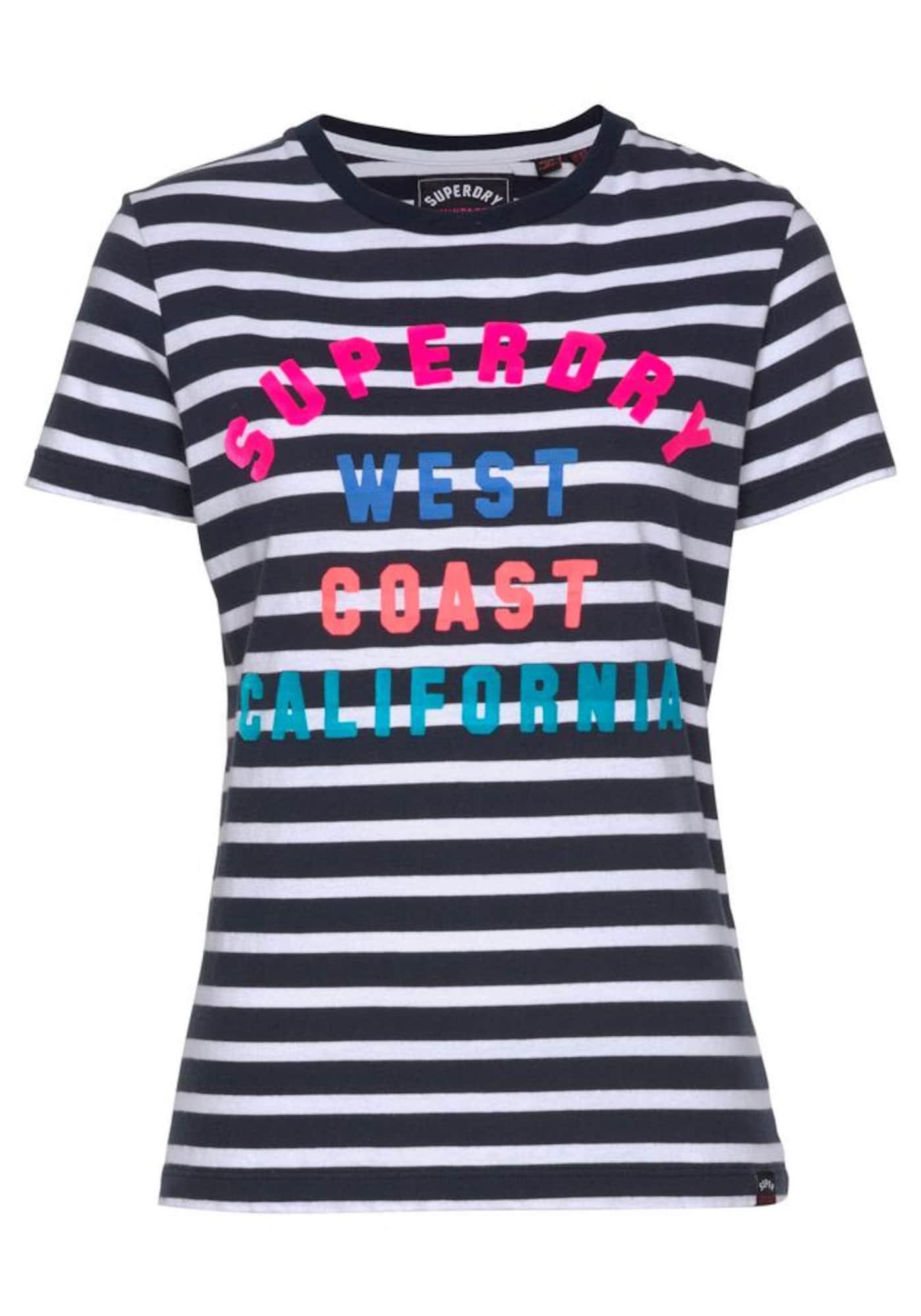 Tričko West Coast Stripe Entry mix barev černá bílá Superdry